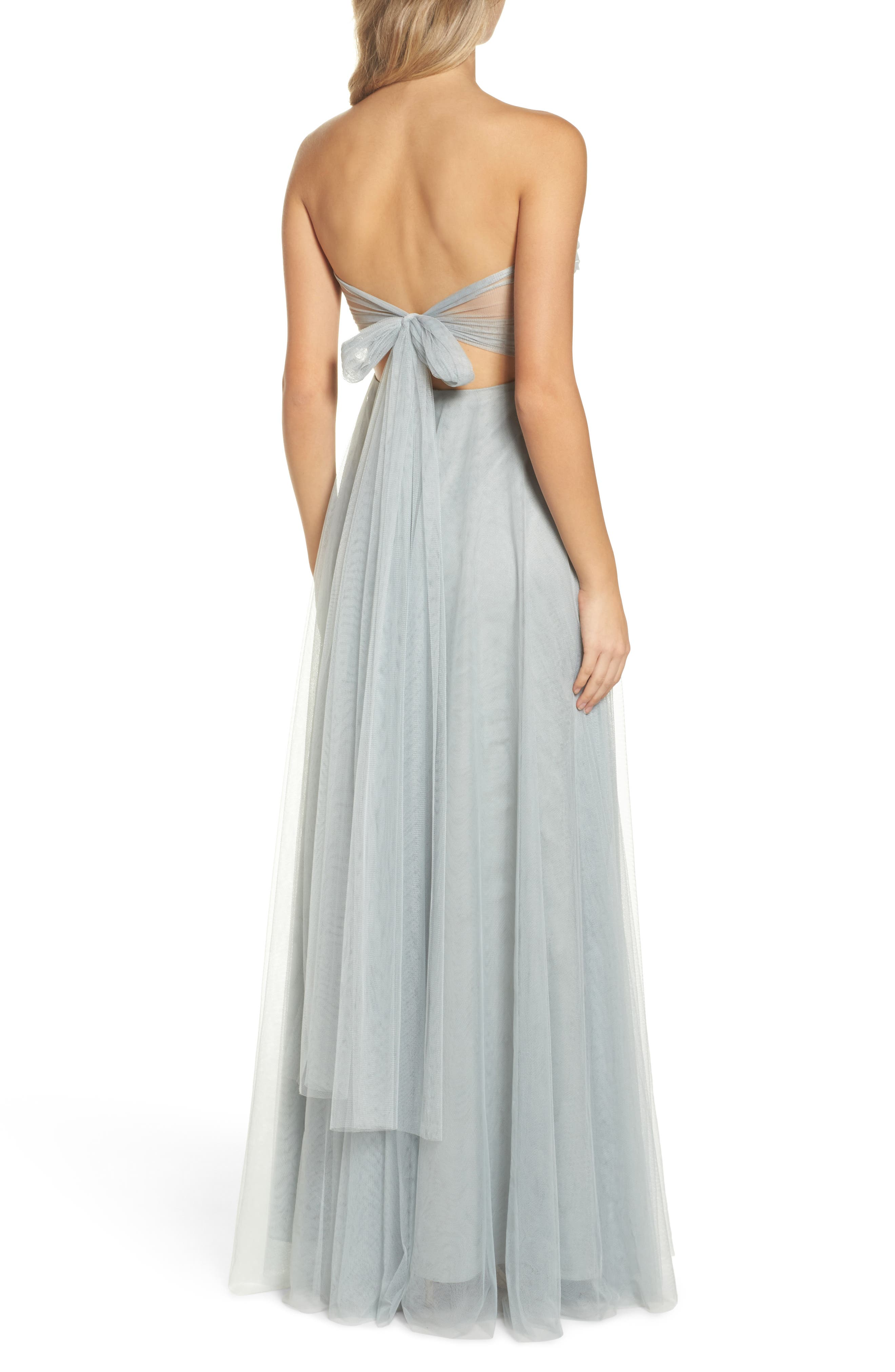 Julia Convertible Soft Tulle Gown,                             Alternate thumbnail 2, color,                             MORNING MIST