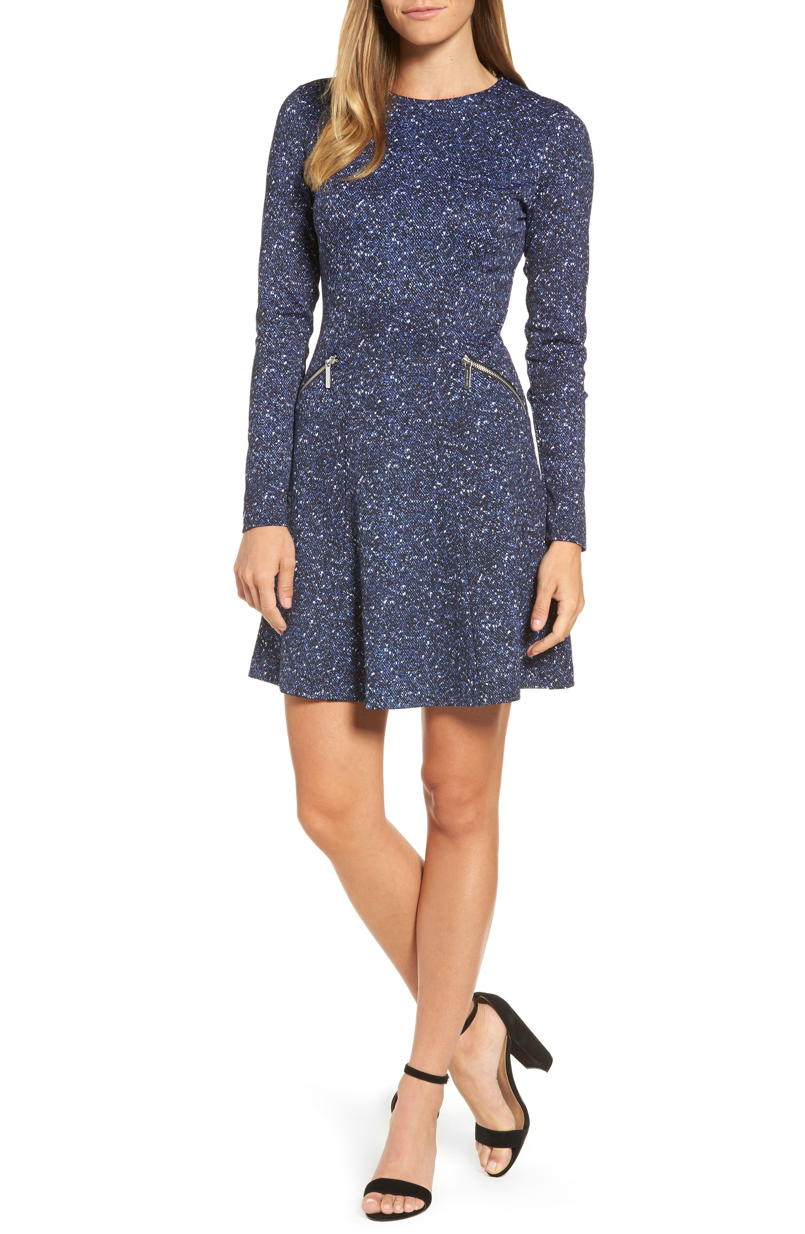 Tweed Print A-Line Dress,                             Main thumbnail 1, color,                             403