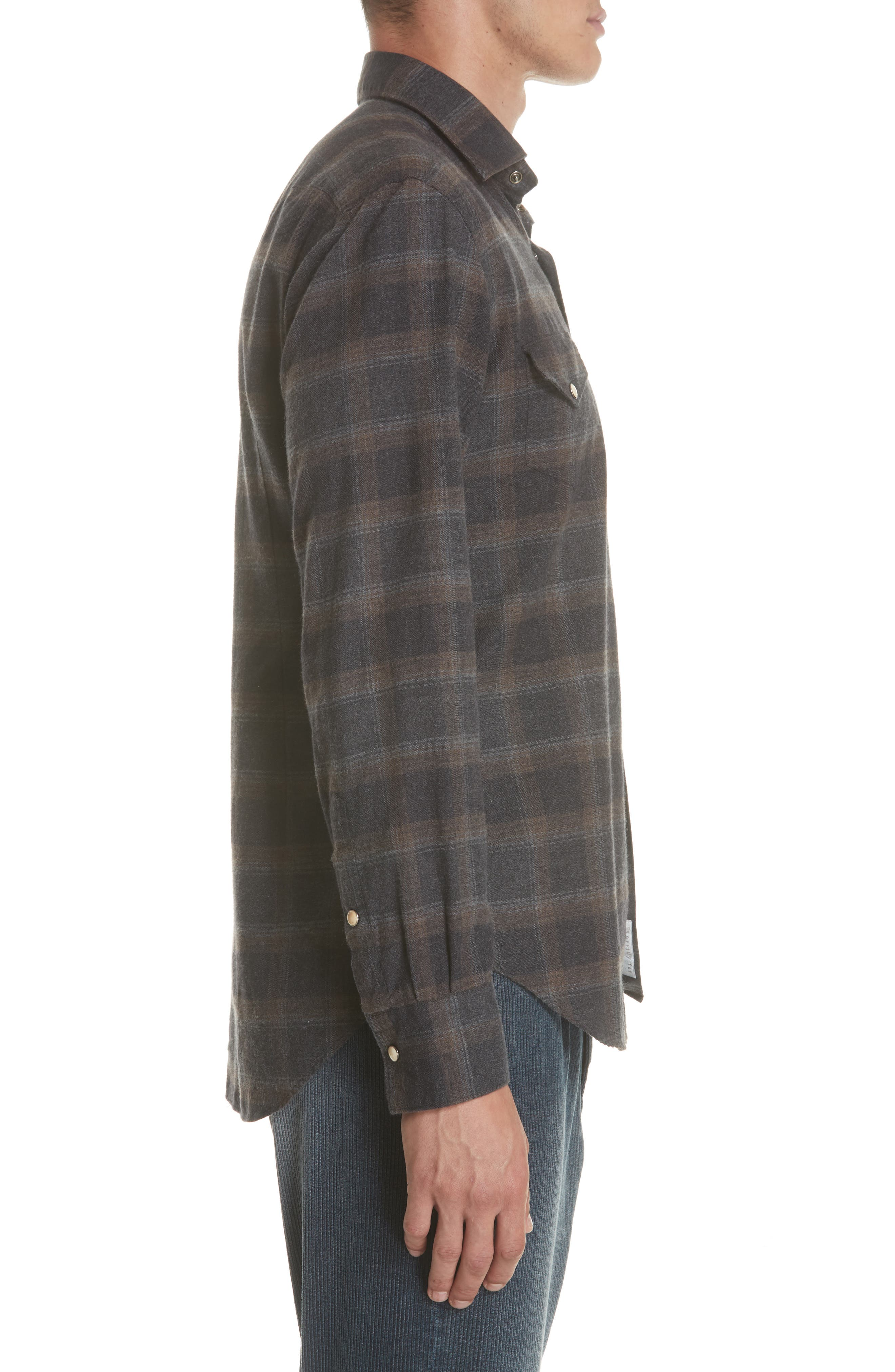 Slim Fit Plaid Western Shirt,                             Alternate thumbnail 4, color,                             GREY/ BROWN