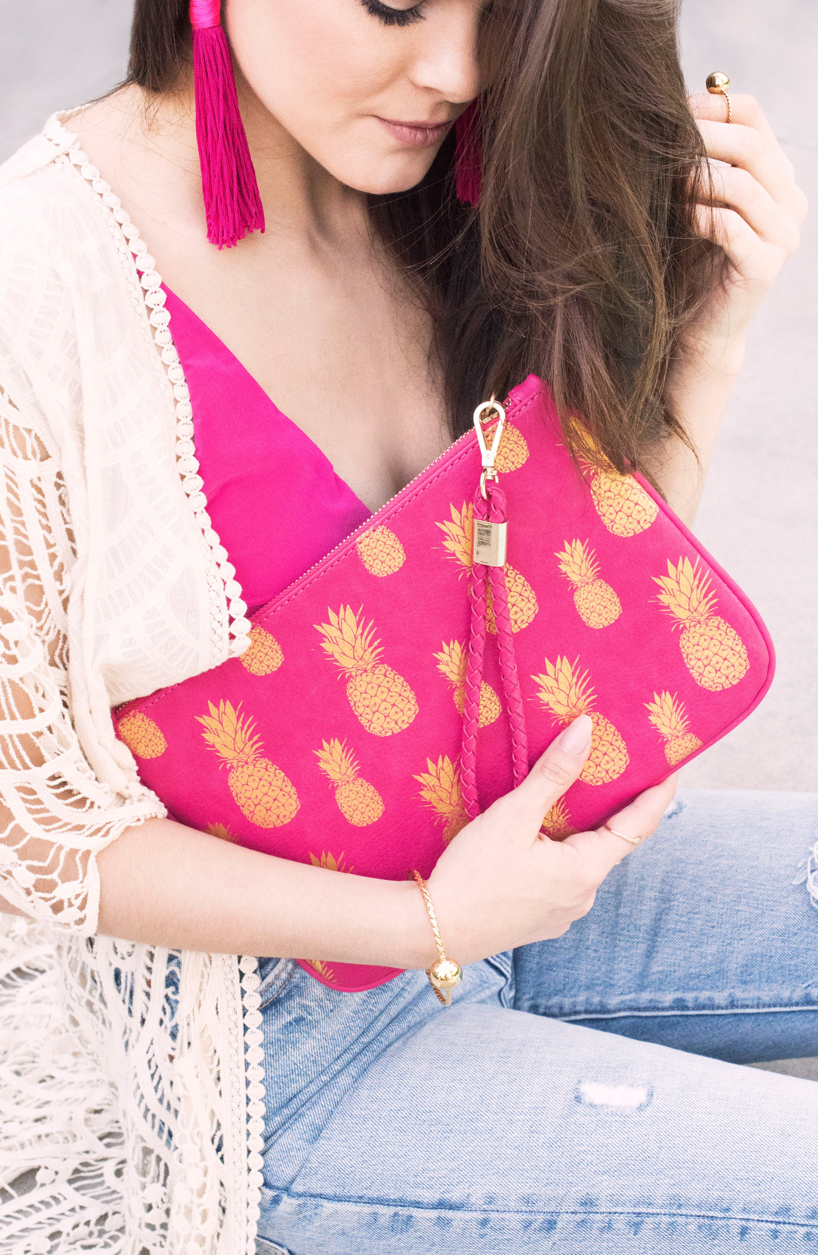 Mali + Lili Alice Pineapple Print Vegan Leather Clutch,                             Alternate thumbnail 7, color,                             HOT PINK