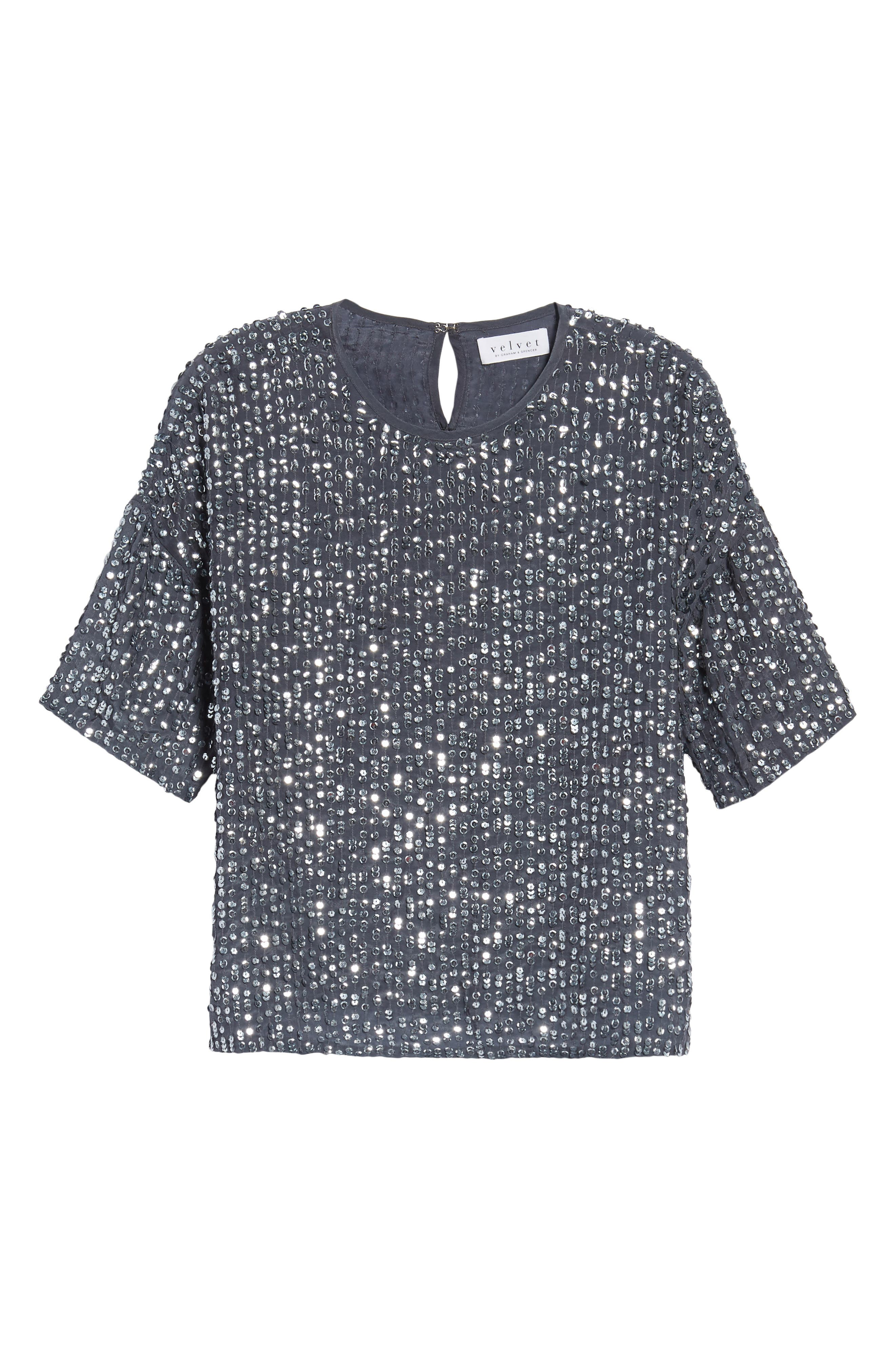 Short Sleeve Sequin Top,                             Alternate thumbnail 6, color,                             031