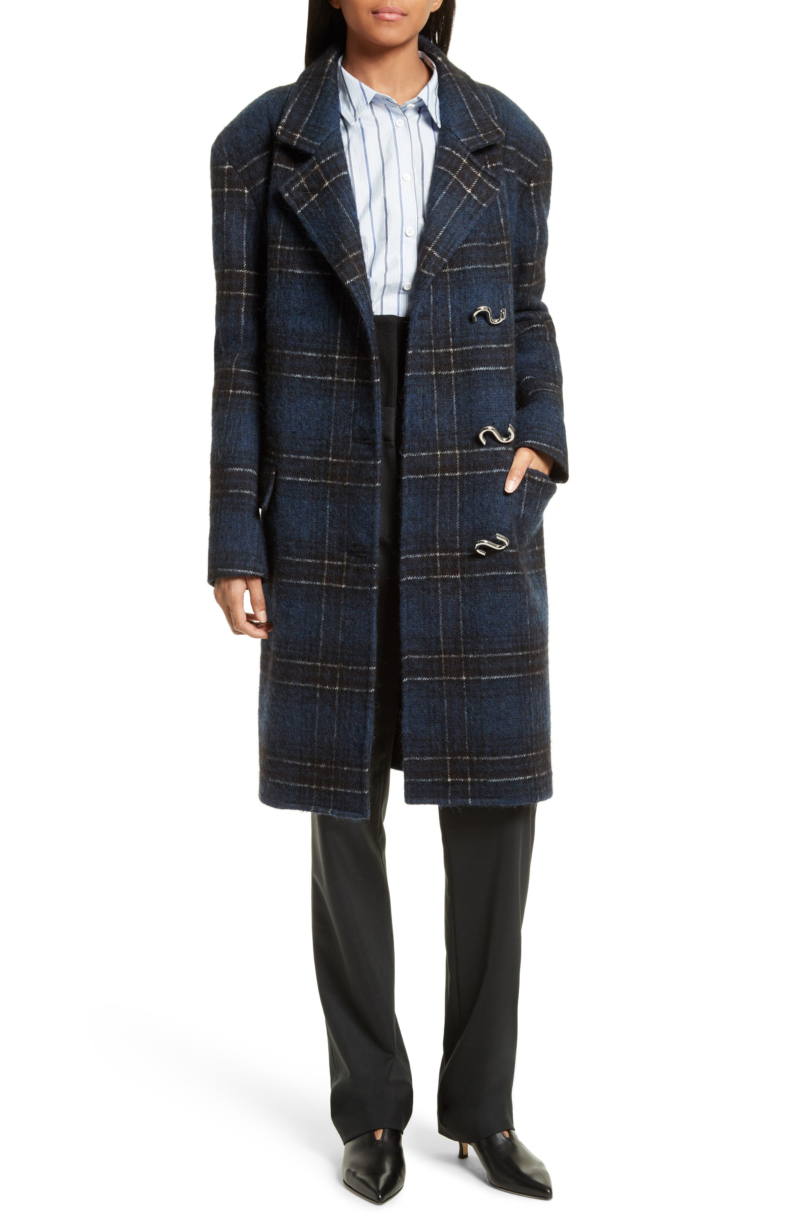 Dominic Plaid Oversize Coat,                             Alternate thumbnail 6, color,                             402