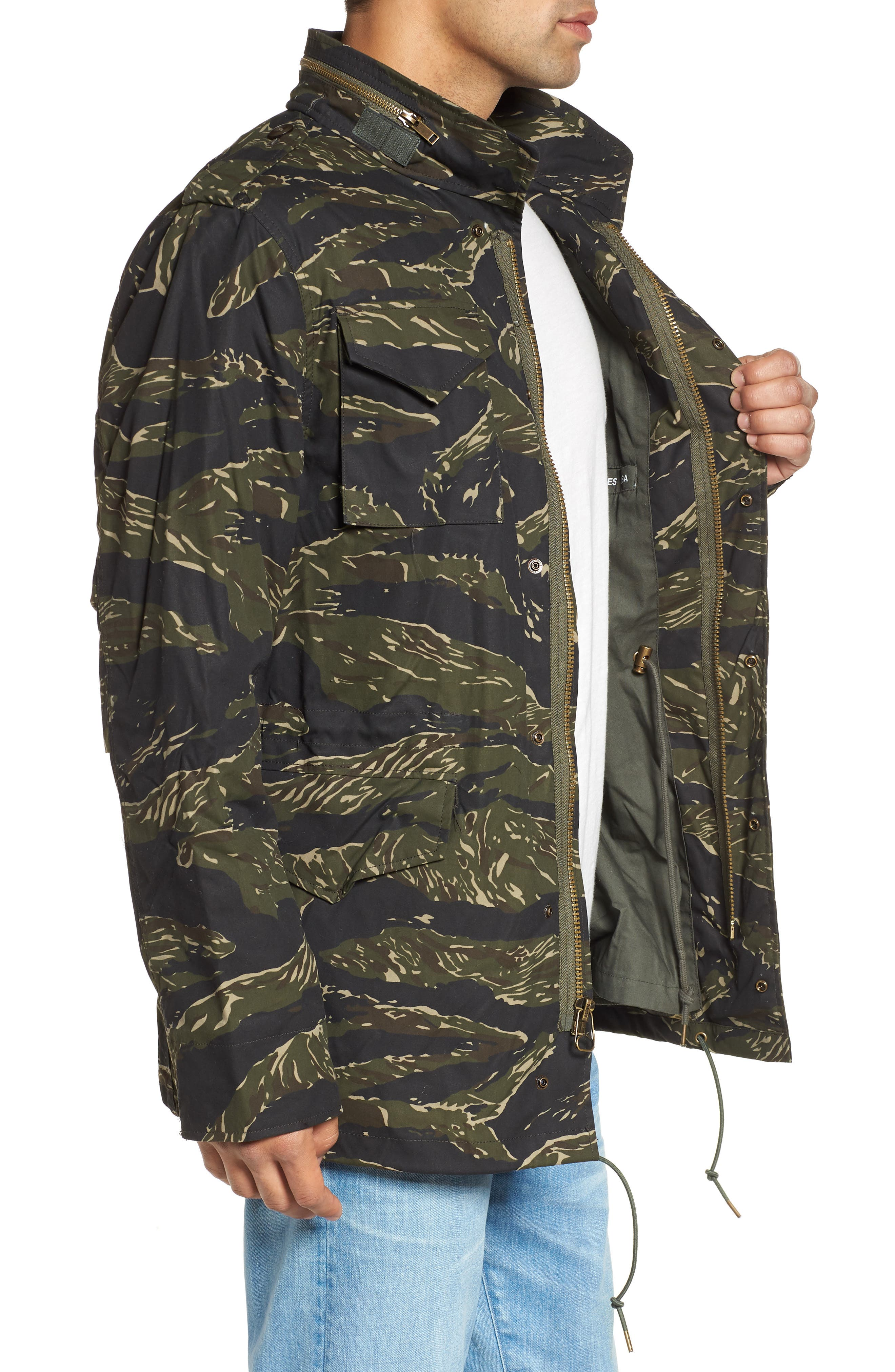 M-65 Defender Waxed Camo Field Jacket,                             Alternate thumbnail 3, color,                             TIGER CAMO