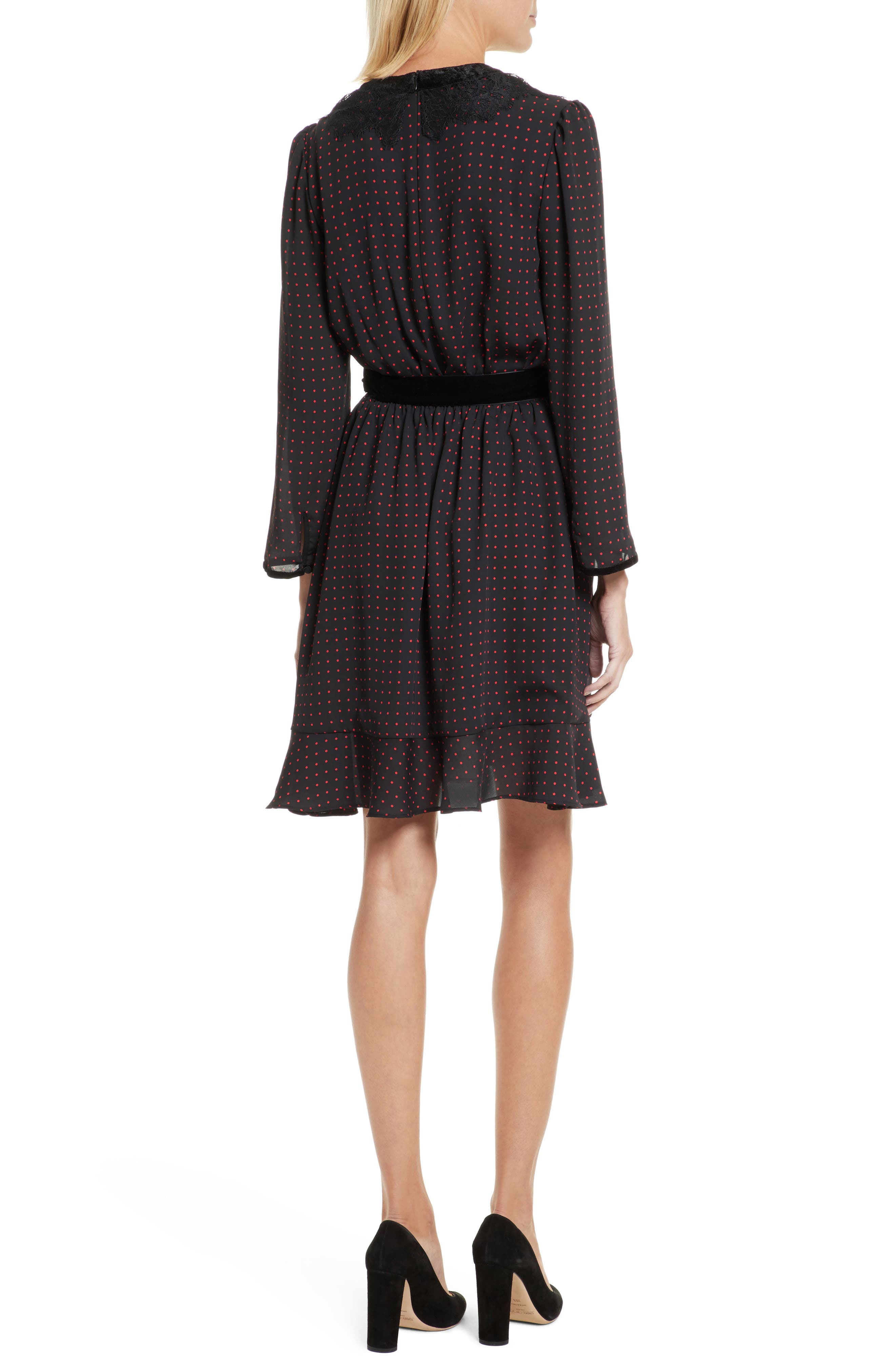 Lace Trim Polka Dot Print Dress,                             Alternate thumbnail 2, color,