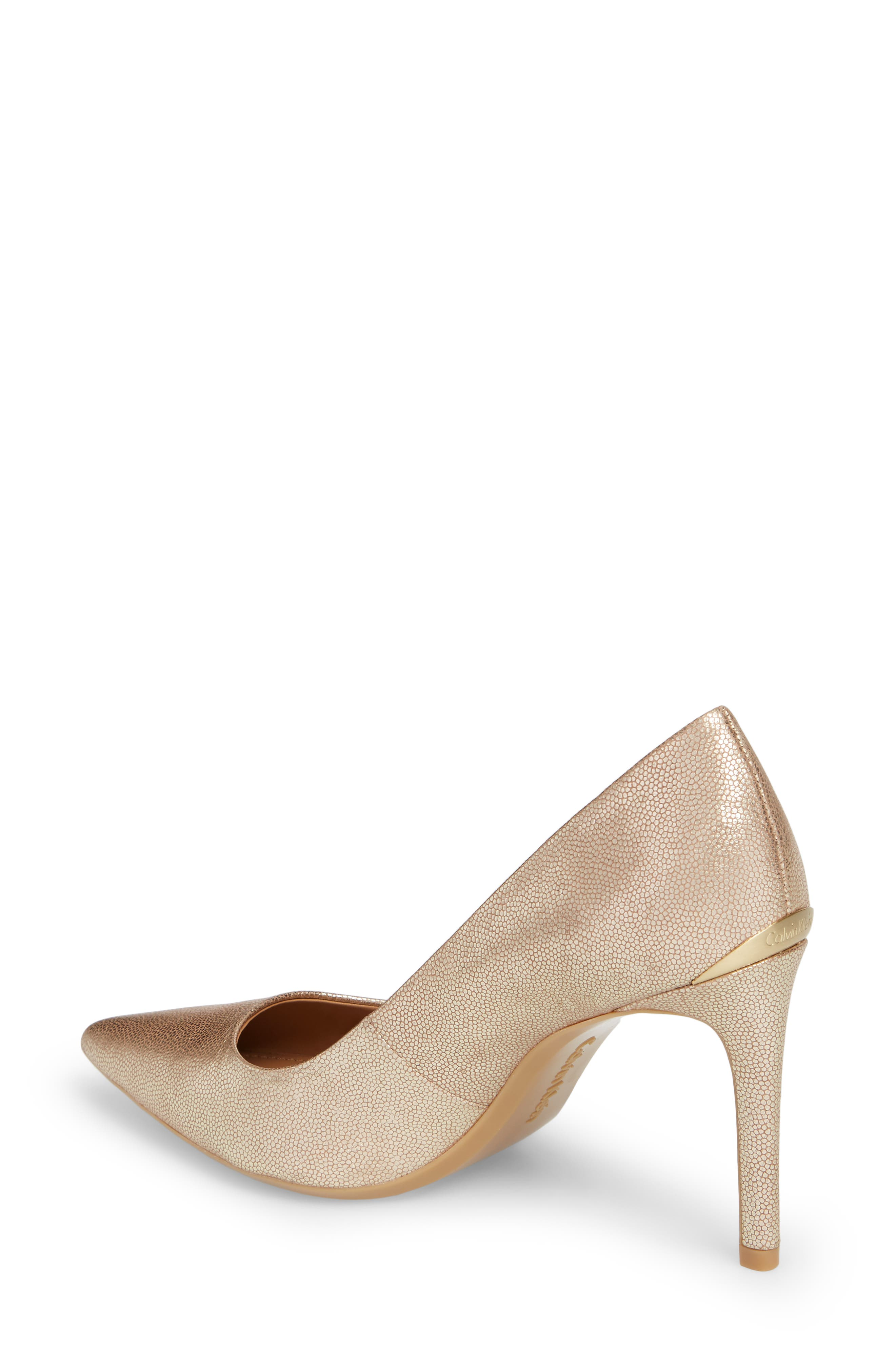 Ronna Pointy Toe Pump,                             Alternate thumbnail 2, color,                             PLATINUM LEATHER