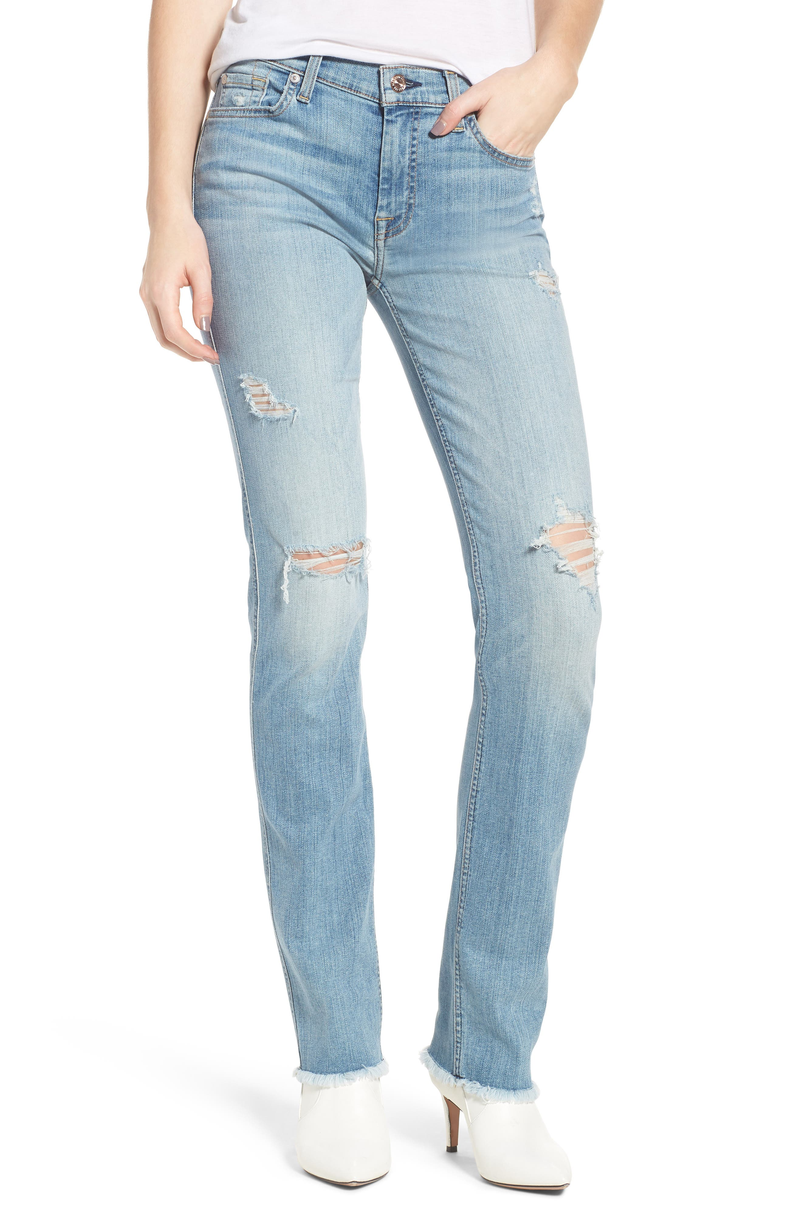 Dylan Ripped Straight Leg Jeans,                             Main thumbnail 1, color,