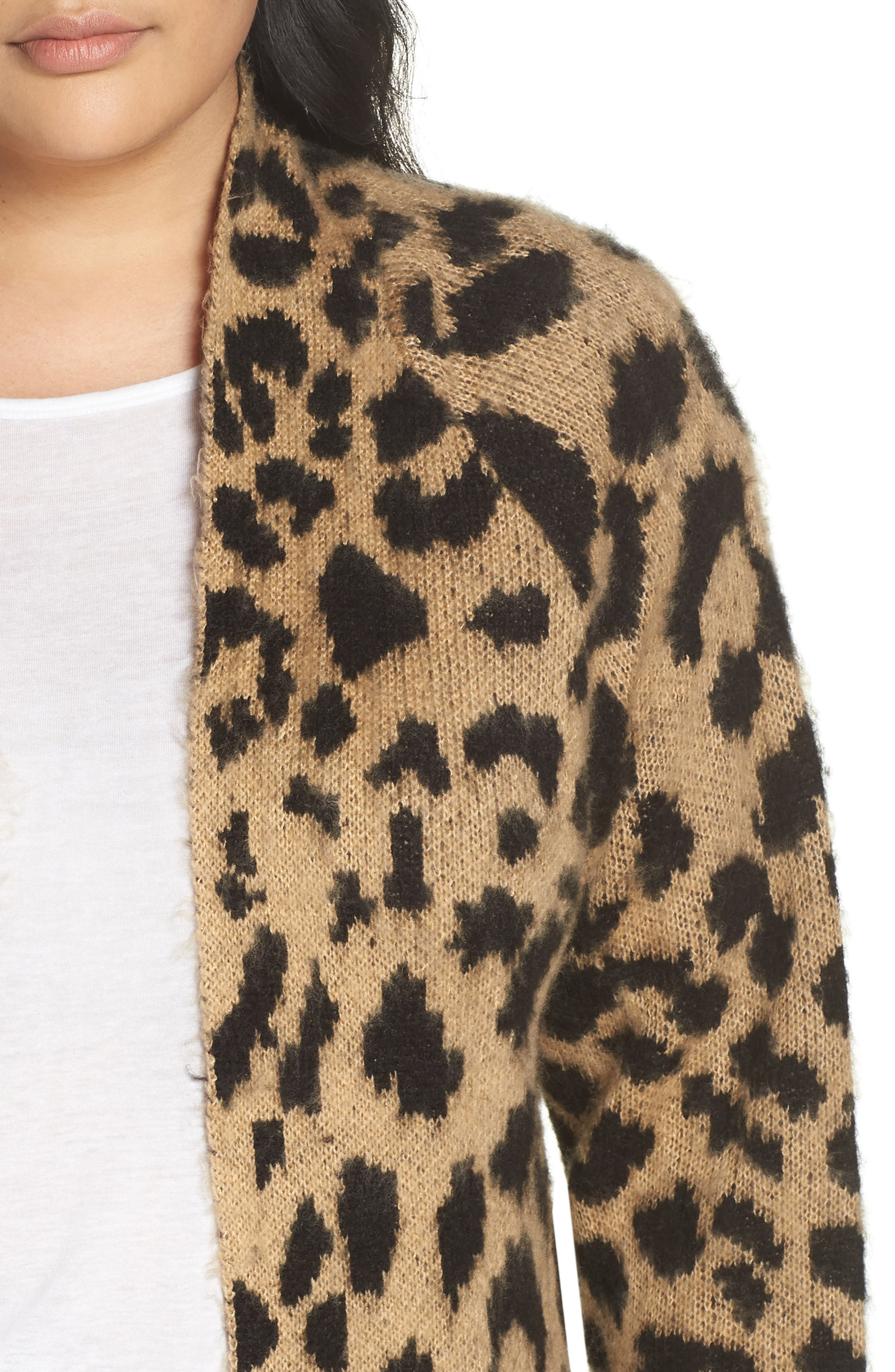 Long Leopard Jacquard Cardigan,                             Alternate thumbnail 10, color,                             260