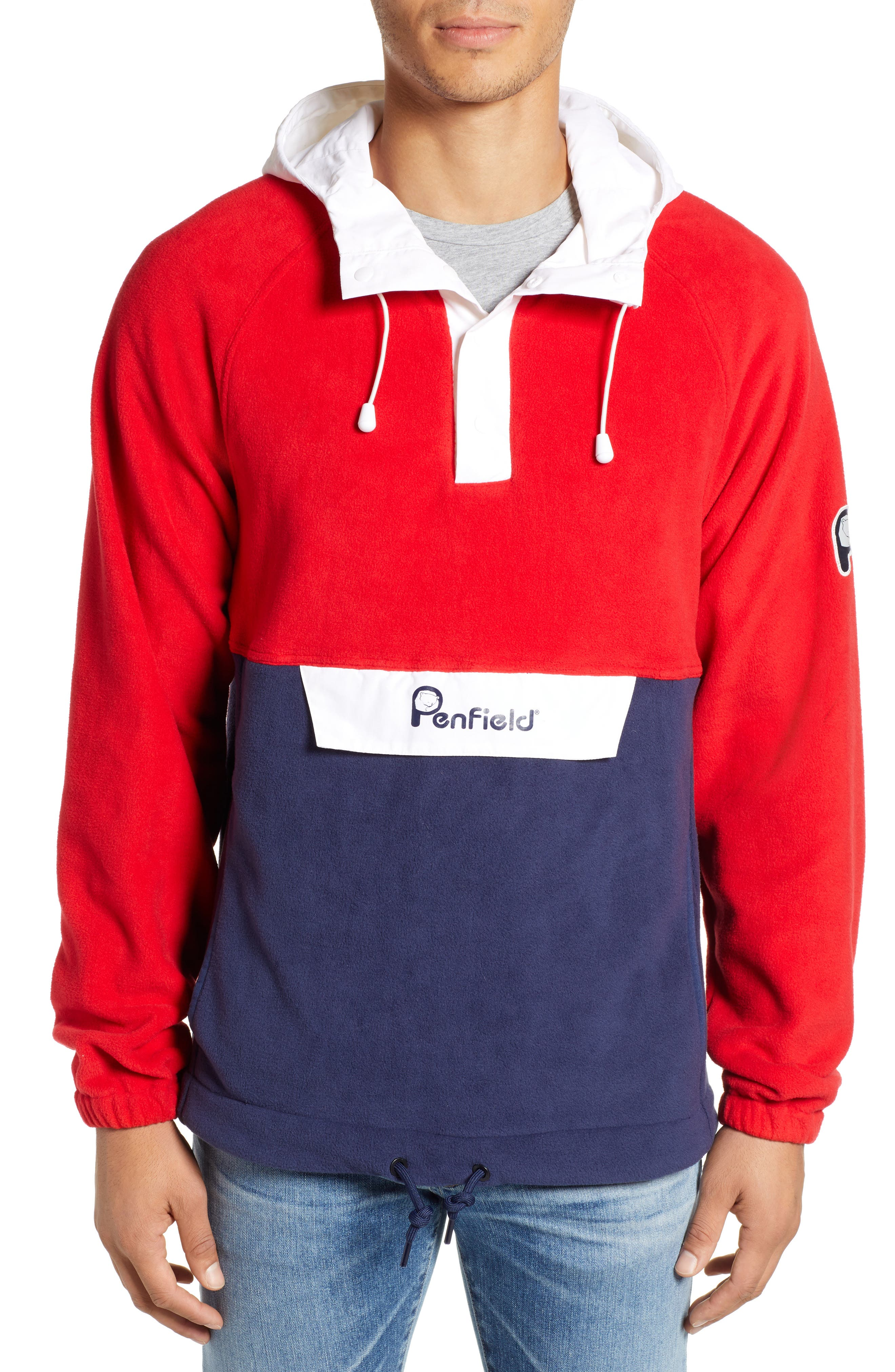 Honnold Colorblock Fleece Pullover Hoodie,                             Main thumbnail 1, color,                             MARS RED