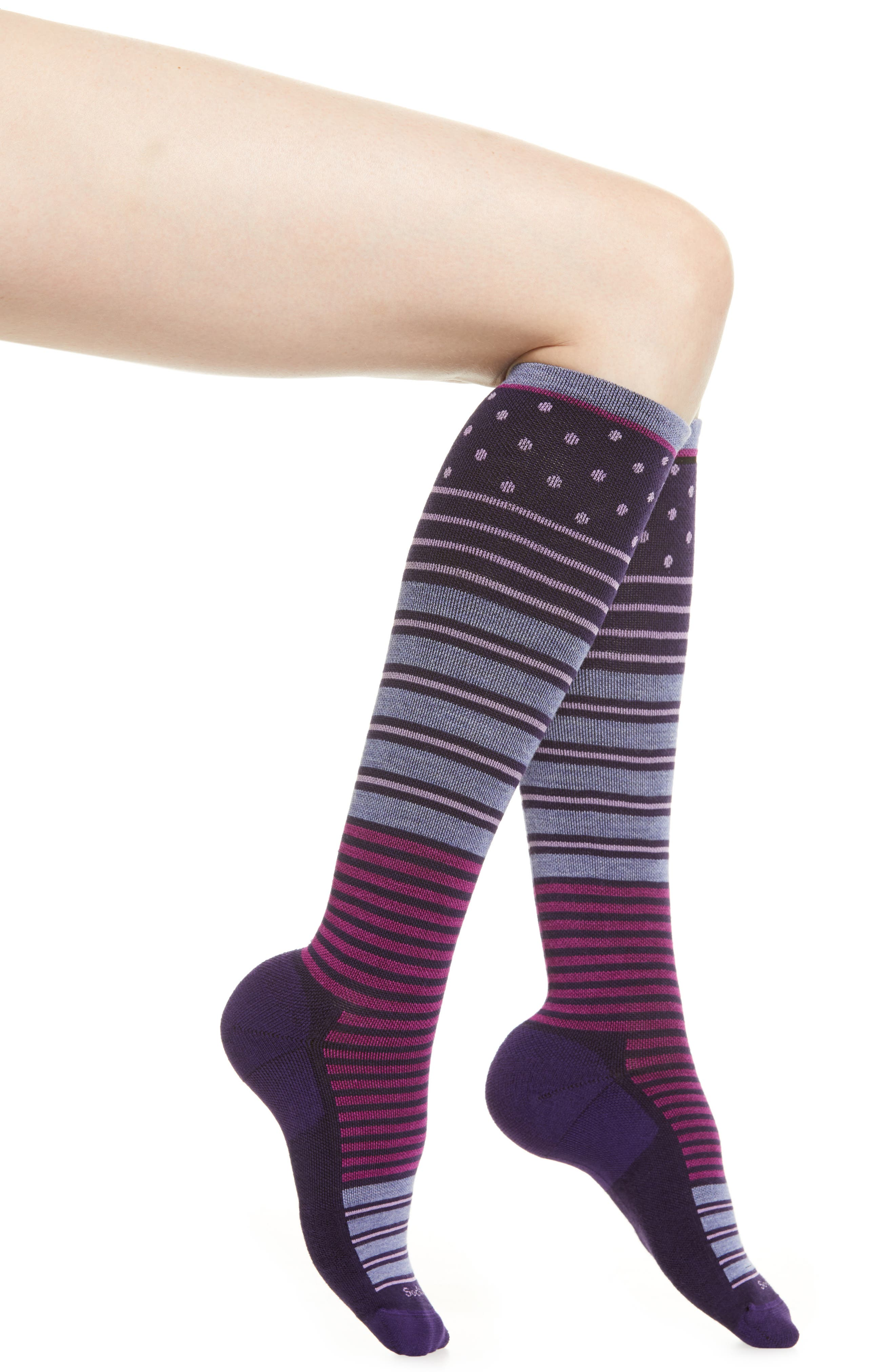 'Twister' Merino Wool Blend Compression Socks,                             Main thumbnail 1, color,                             CONCORDE