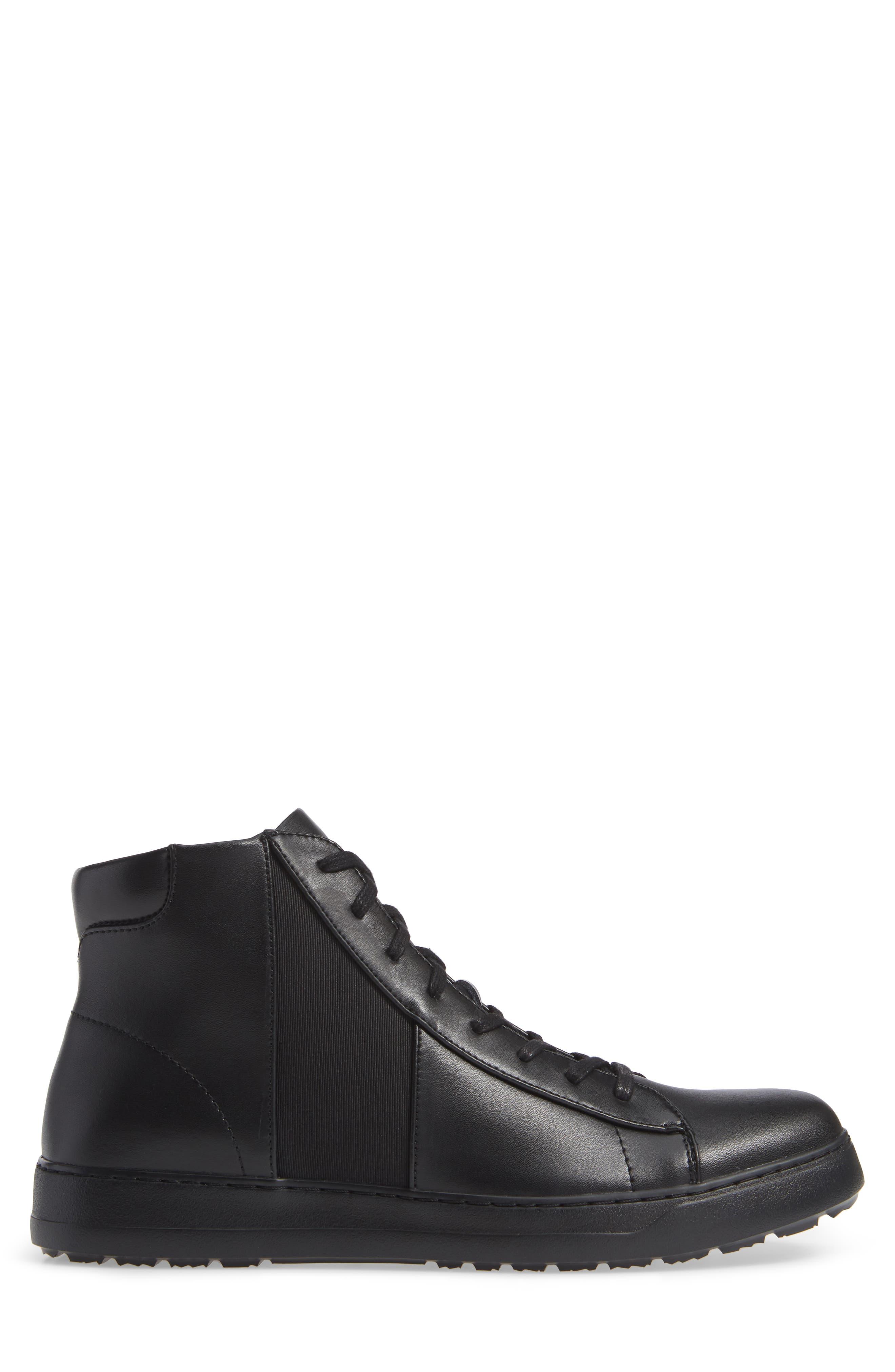 Salvador High Top Sneaker,                             Alternate thumbnail 3, color,                             BLACK/ BLACK LEATHER