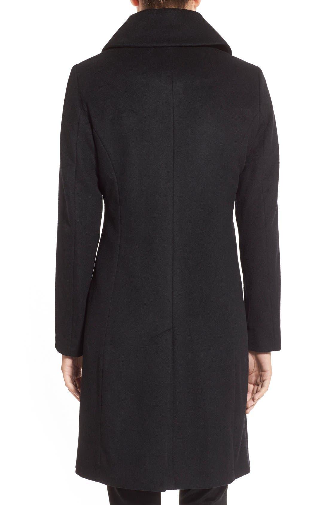 Single Breasted Wool Blend Coat,                             Alternate thumbnail 3, color,                             BLACK
