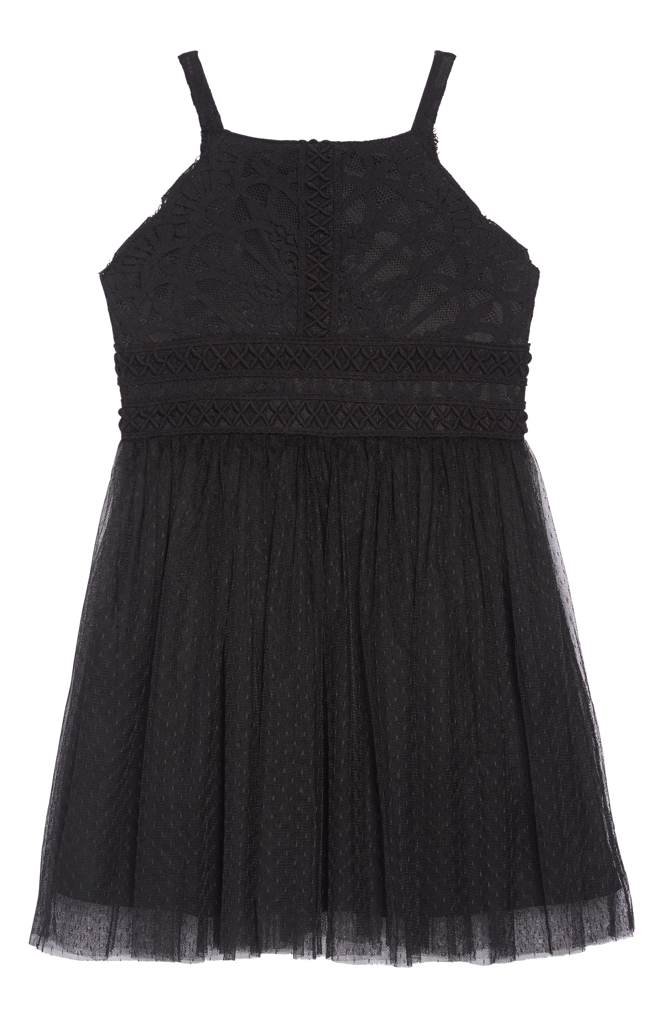 Sleeveless Tulle Dress,                             Main thumbnail 1, color,                             BLACK