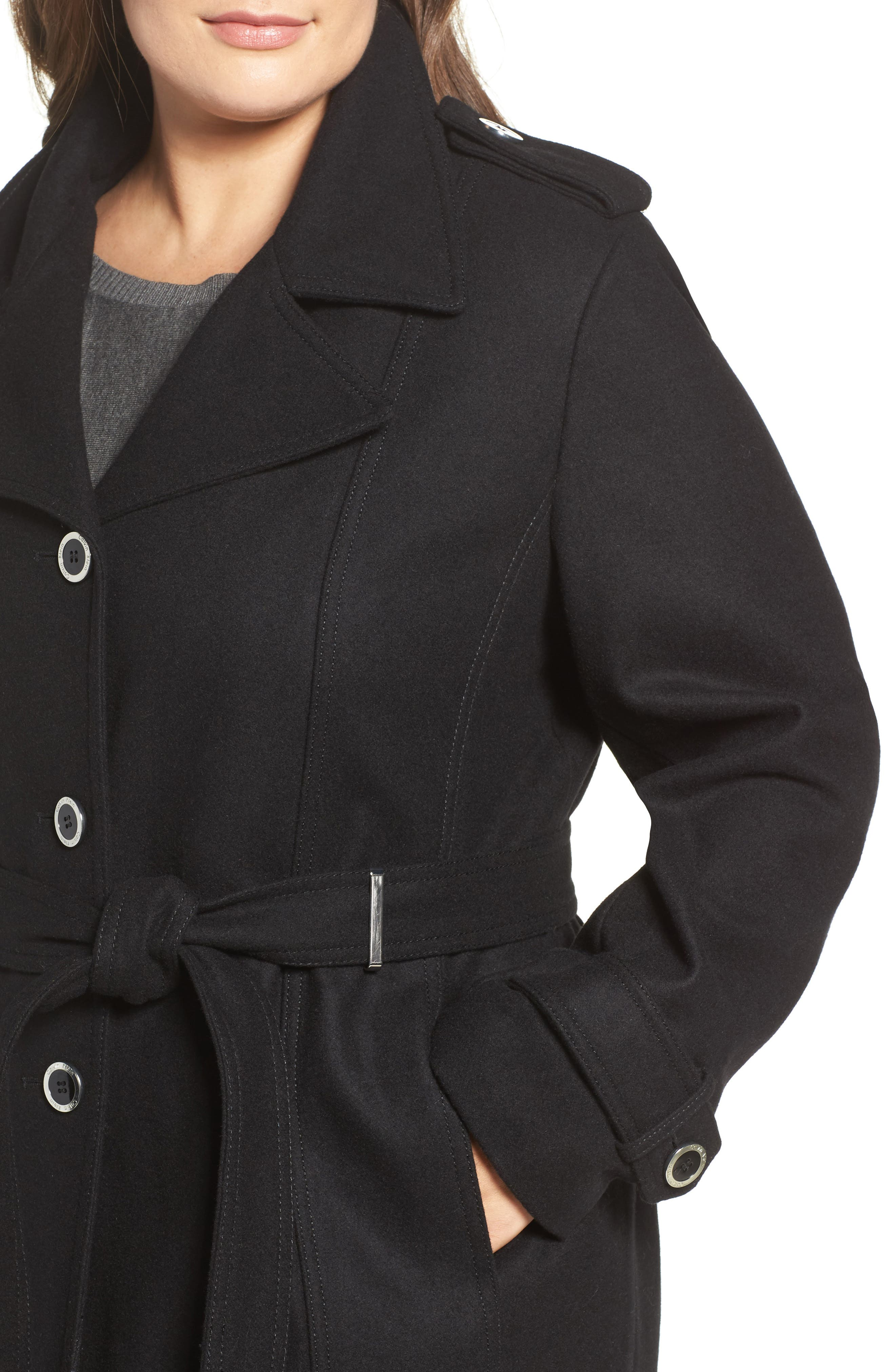Single Breasted Wool Blend Trench Coat,                             Alternate thumbnail 8, color,