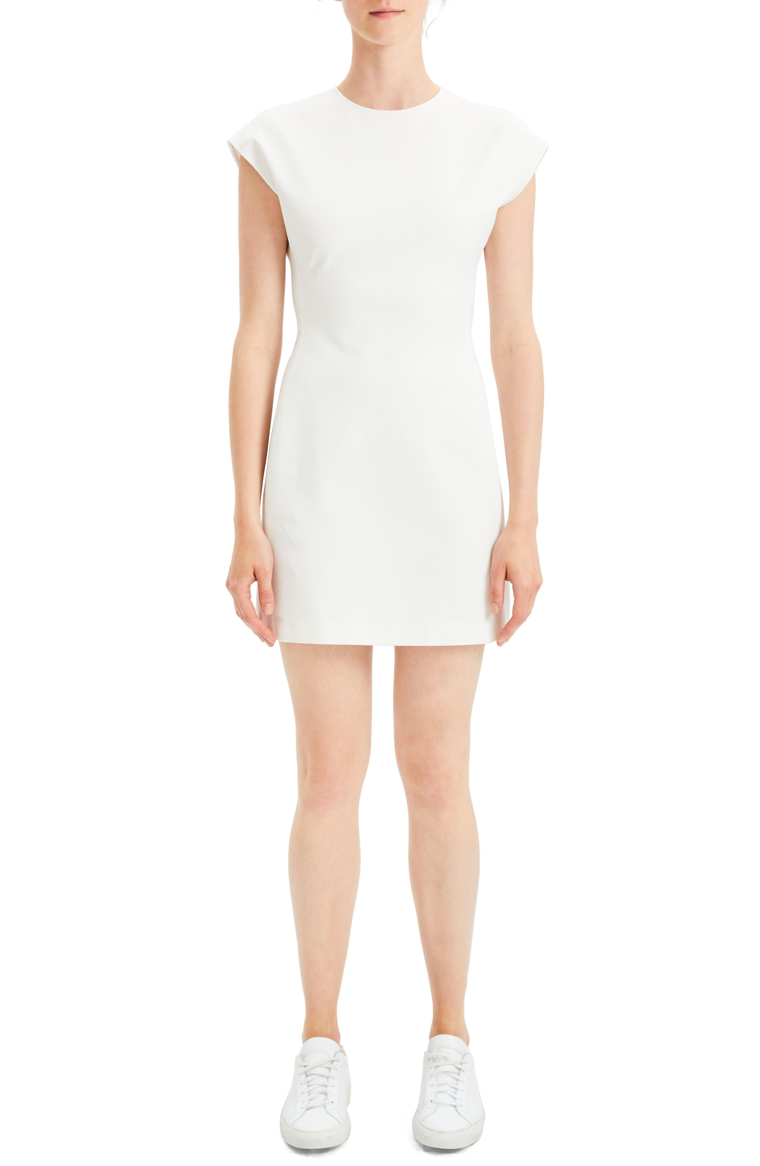 Theory Structured Fitted Dress, White