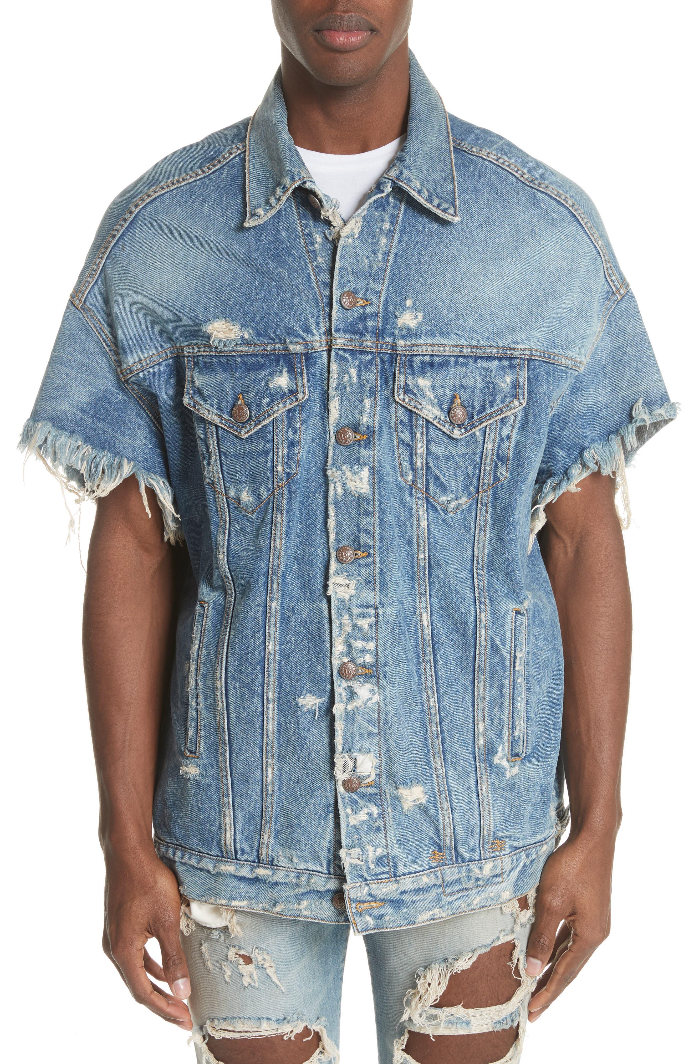 Oversized Cutoff Denim Jacket,                             Main thumbnail 1, color,                             BLUE