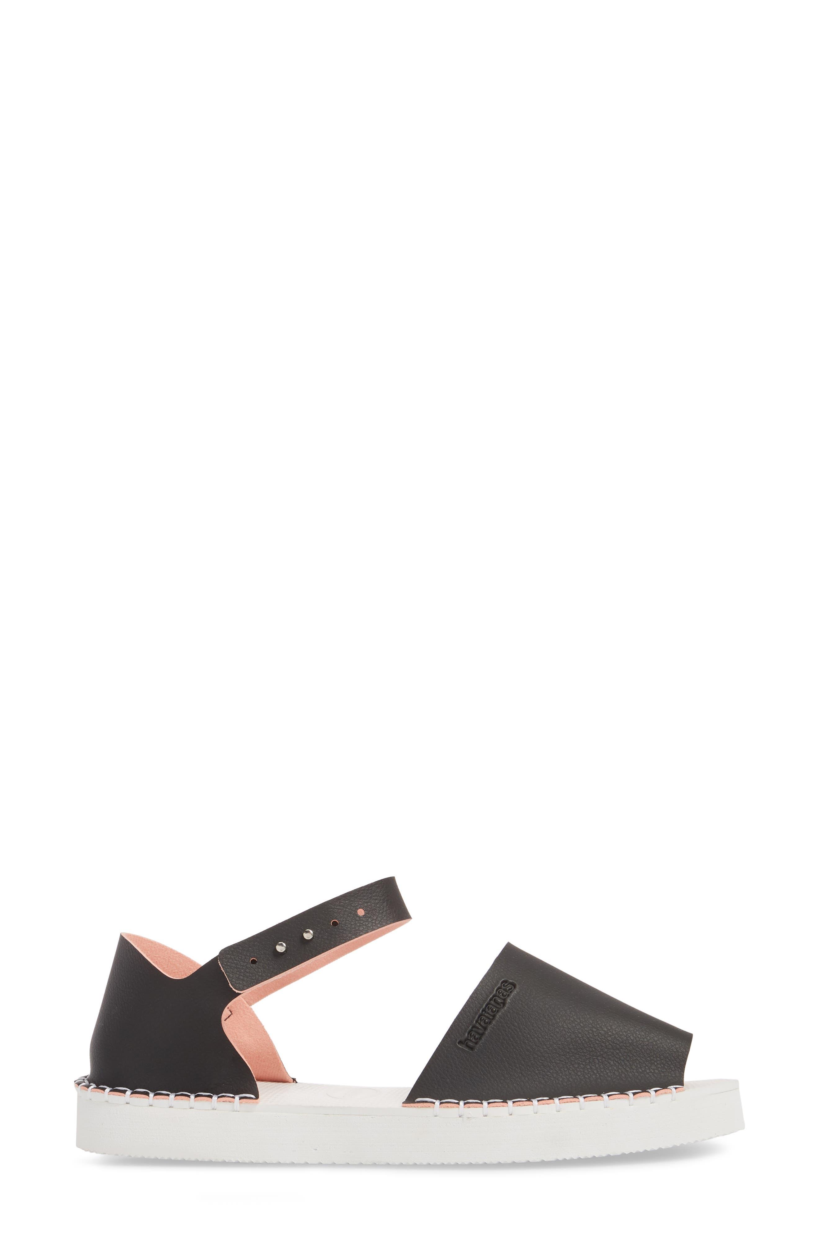 Flatform Fashion Sandal,                             Alternate thumbnail 3, color,                             BLACK/ PINK