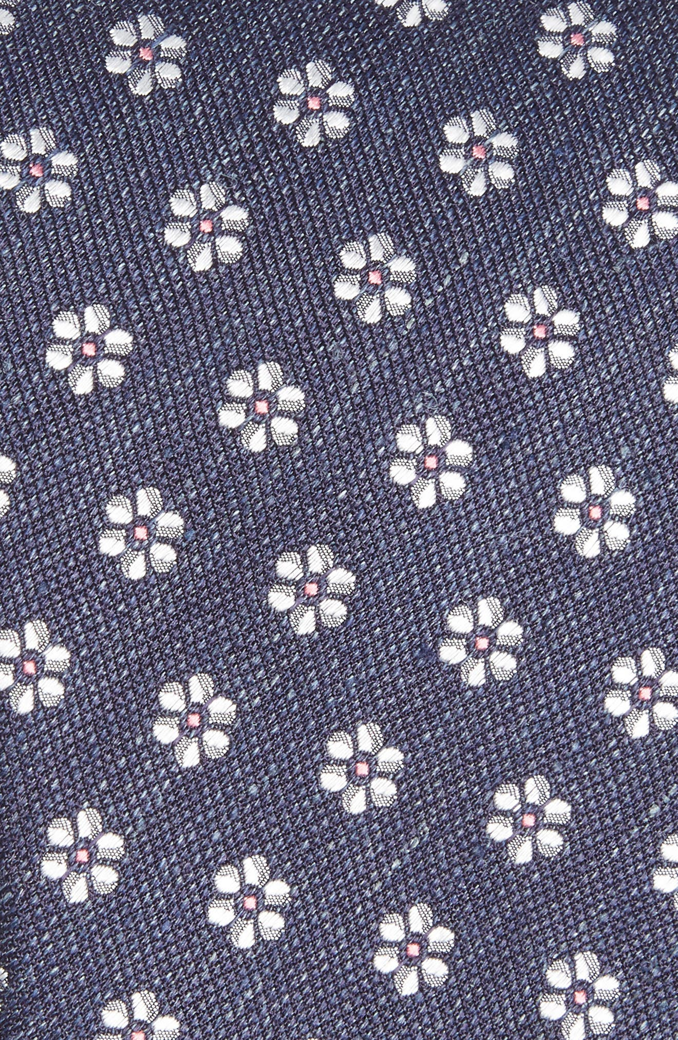 Neat Flower Silk & Linen Tie,                             Alternate thumbnail 2, color,                             NAVY
