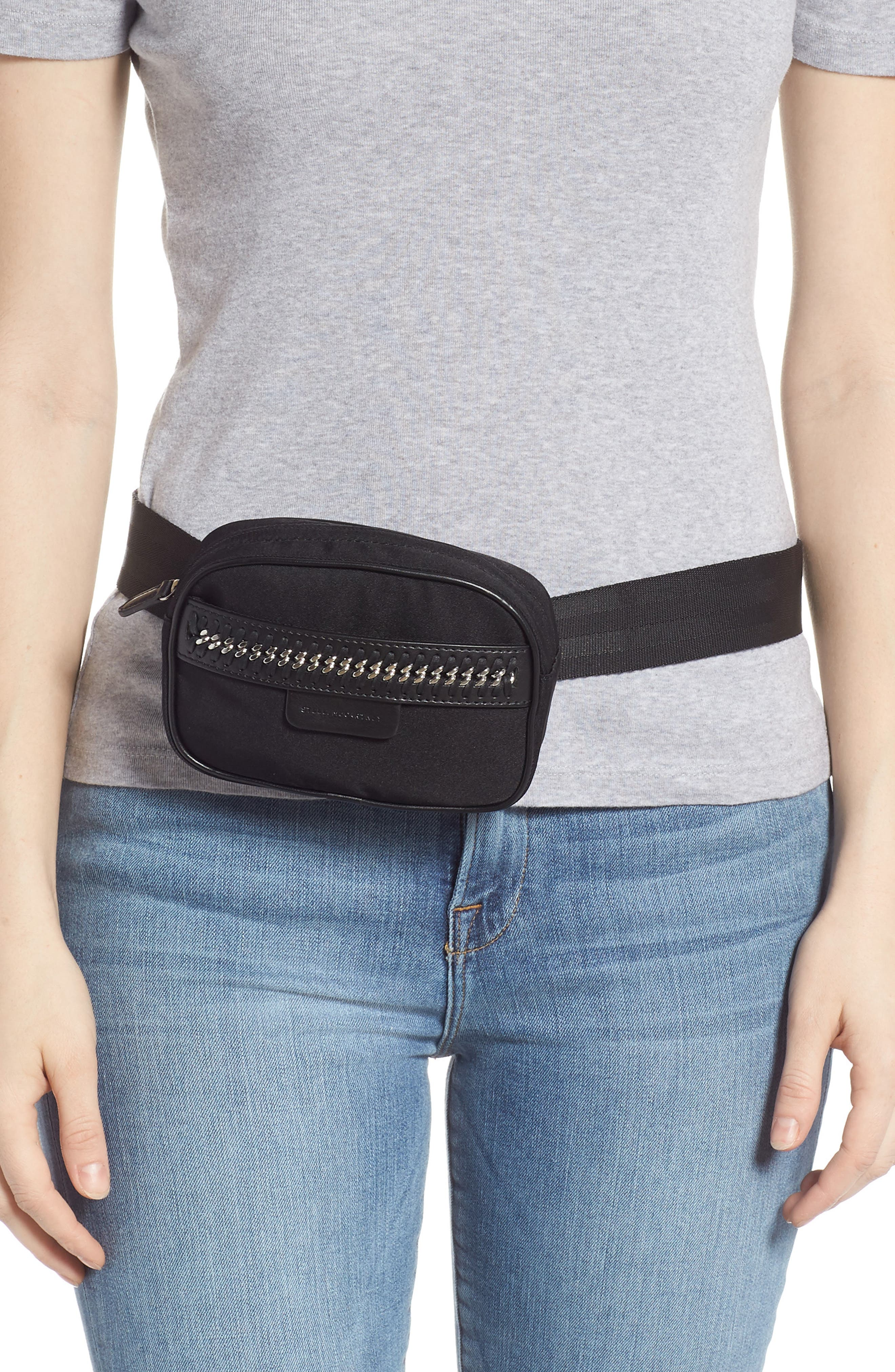 Nylon Convertible Belt Bag,                             Alternate thumbnail 2, color,                             BLACK/ SILVER