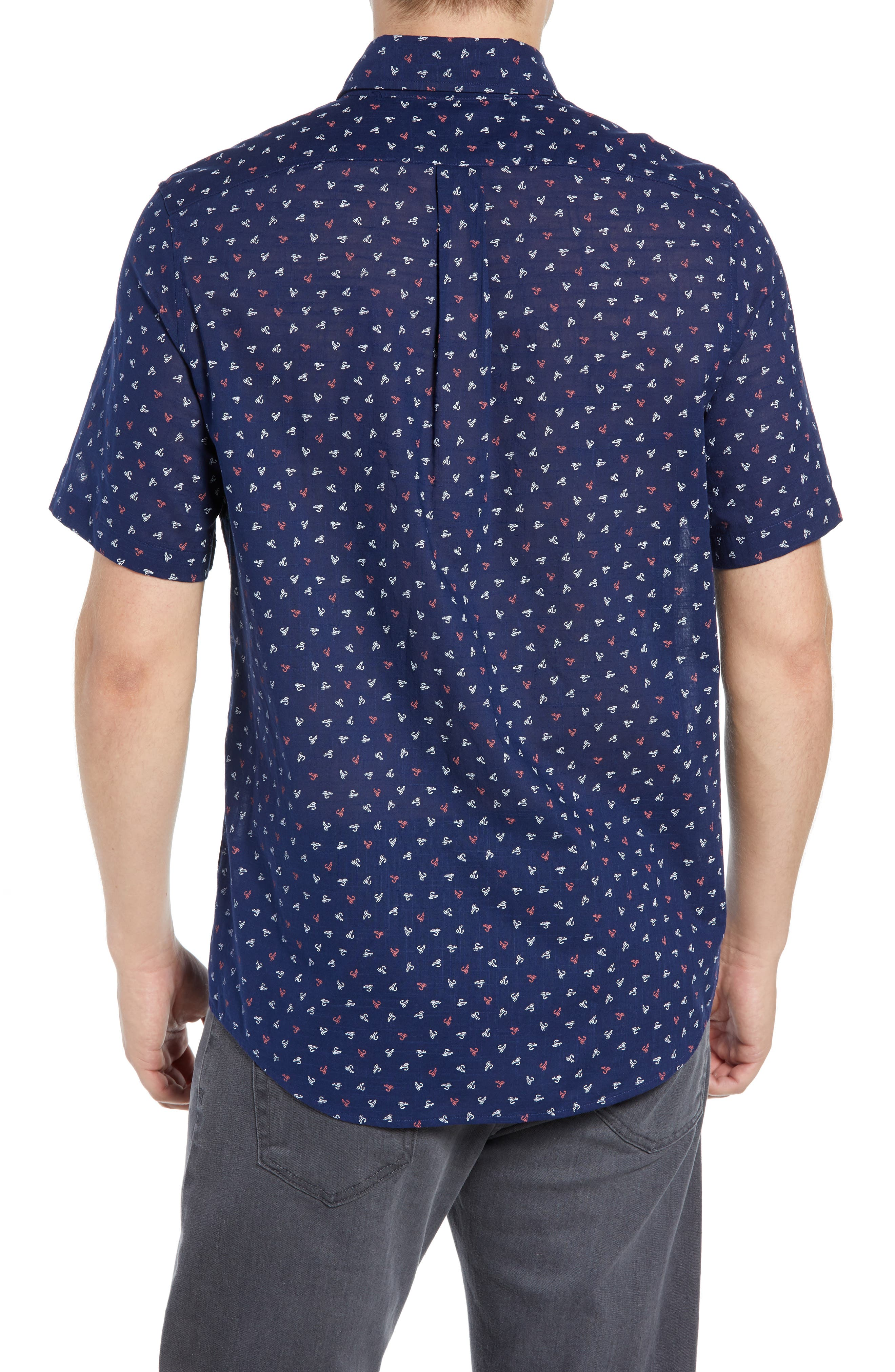 Murray Lures Slim Fit Sport Shirt,                             Alternate thumbnail 3, color,                             DEEP BAY