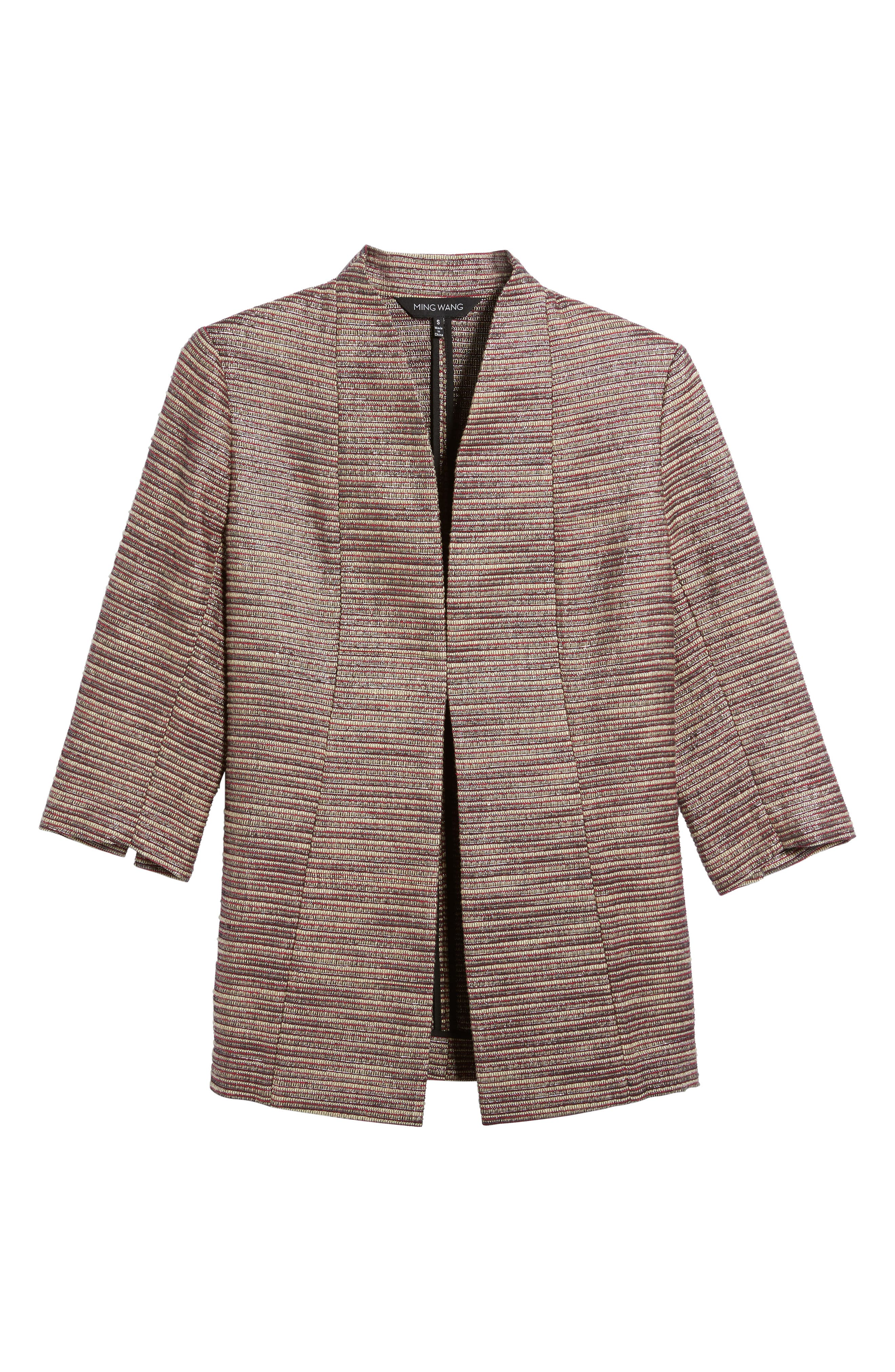 Ribbed Metallic Tweed Jacket,                             Alternate thumbnail 5, color,                             657