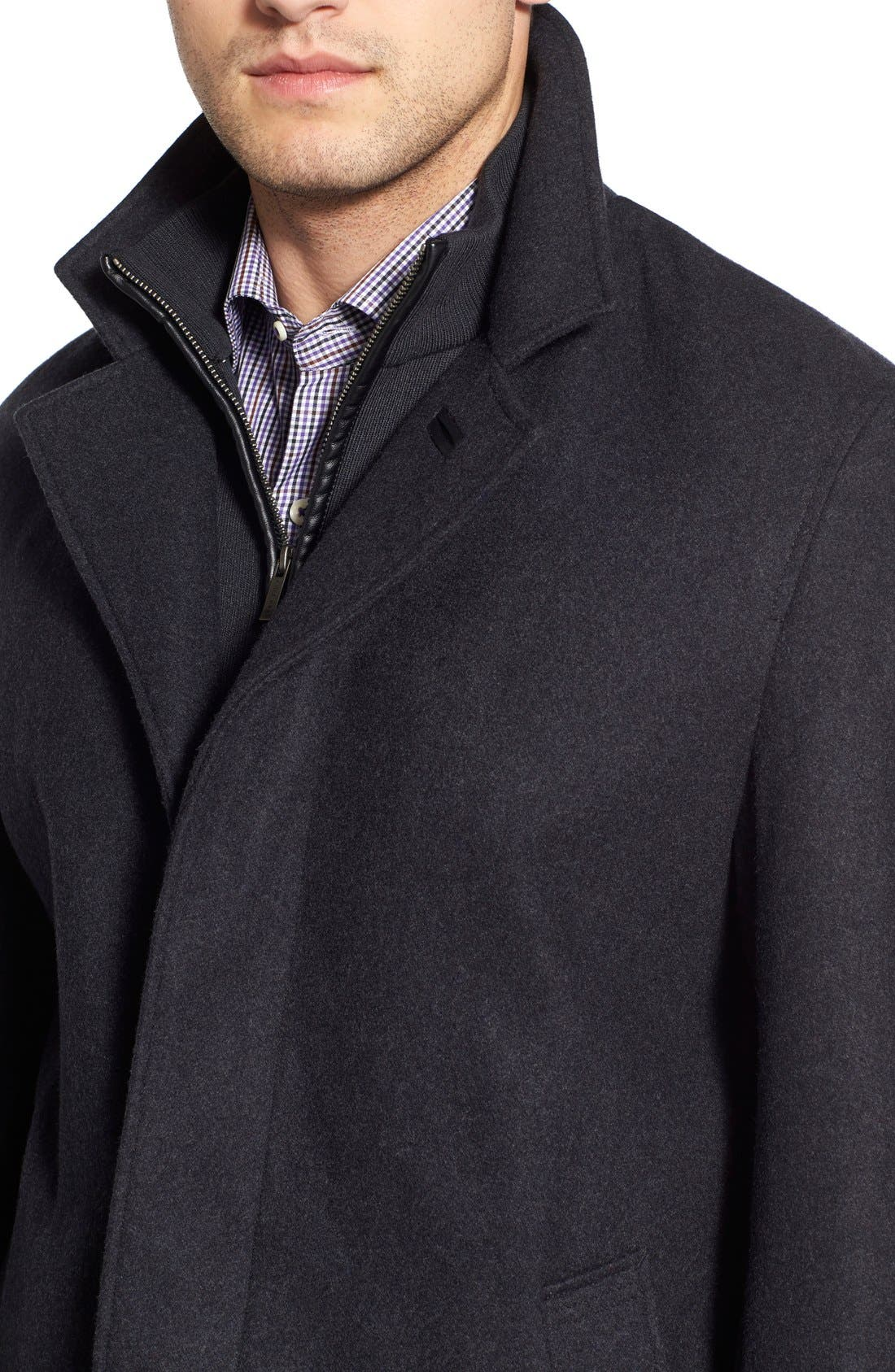 Wool Blend Topcoat with Inset Knit Bib,                             Alternate thumbnail 8, color,