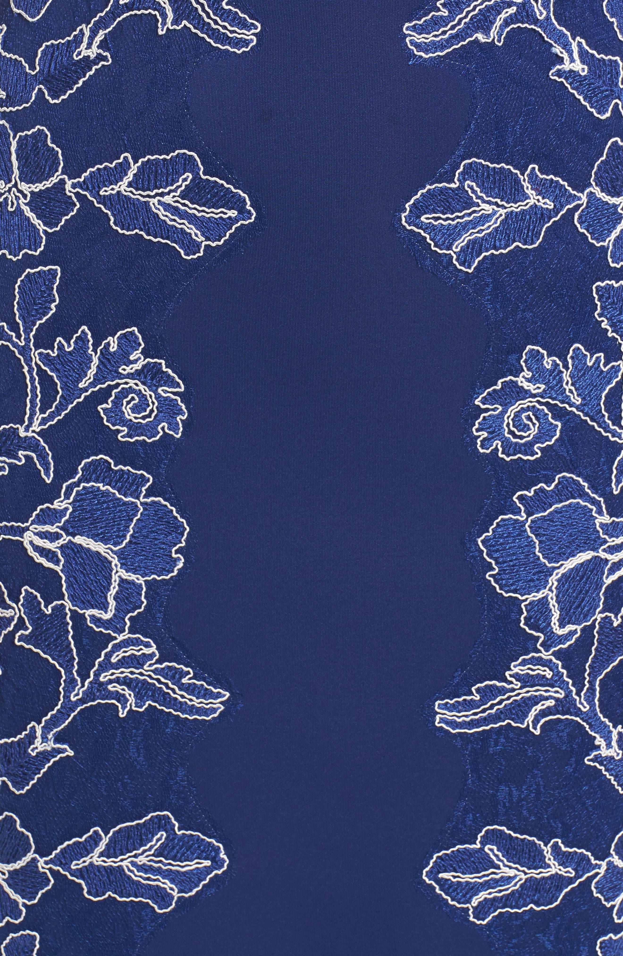Embroidered Neoprene Sheath Dress,                             Alternate thumbnail 19, color,