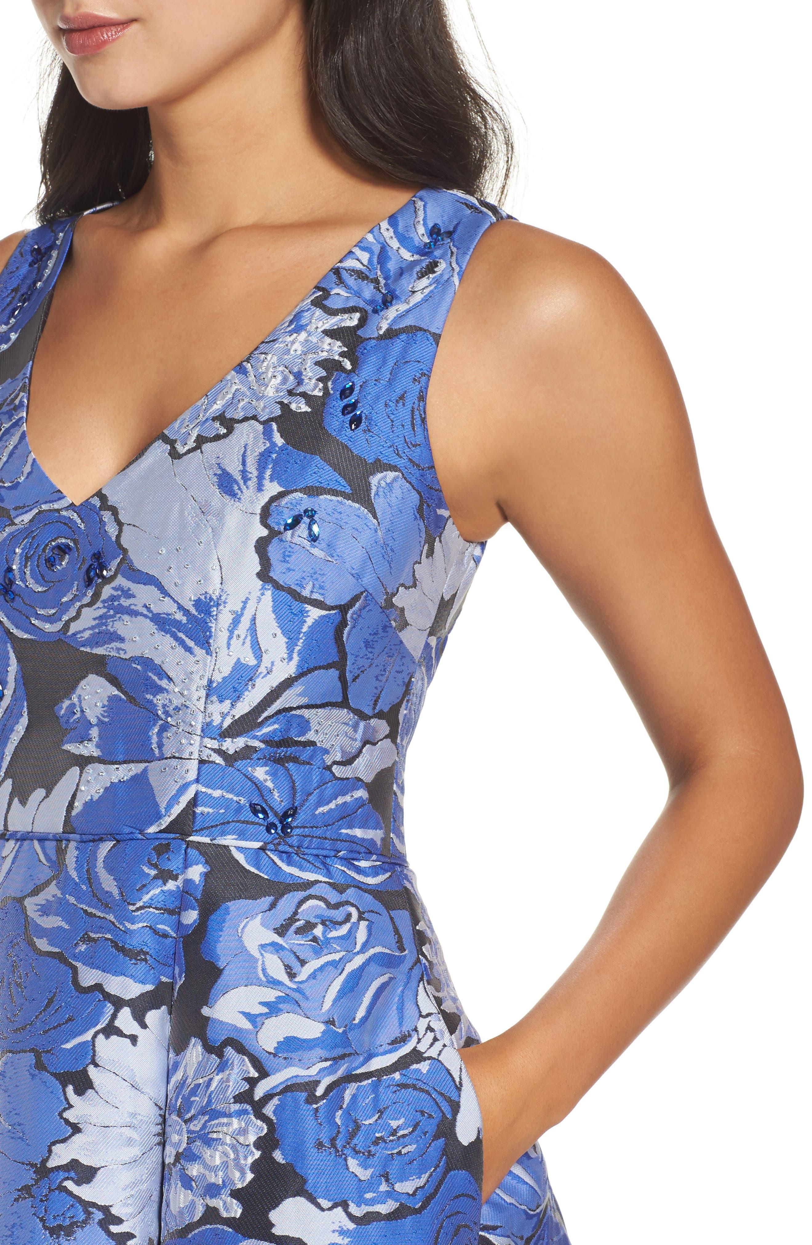 Jacquard Fit & Flare Dress,                             Alternate thumbnail 4, color,
