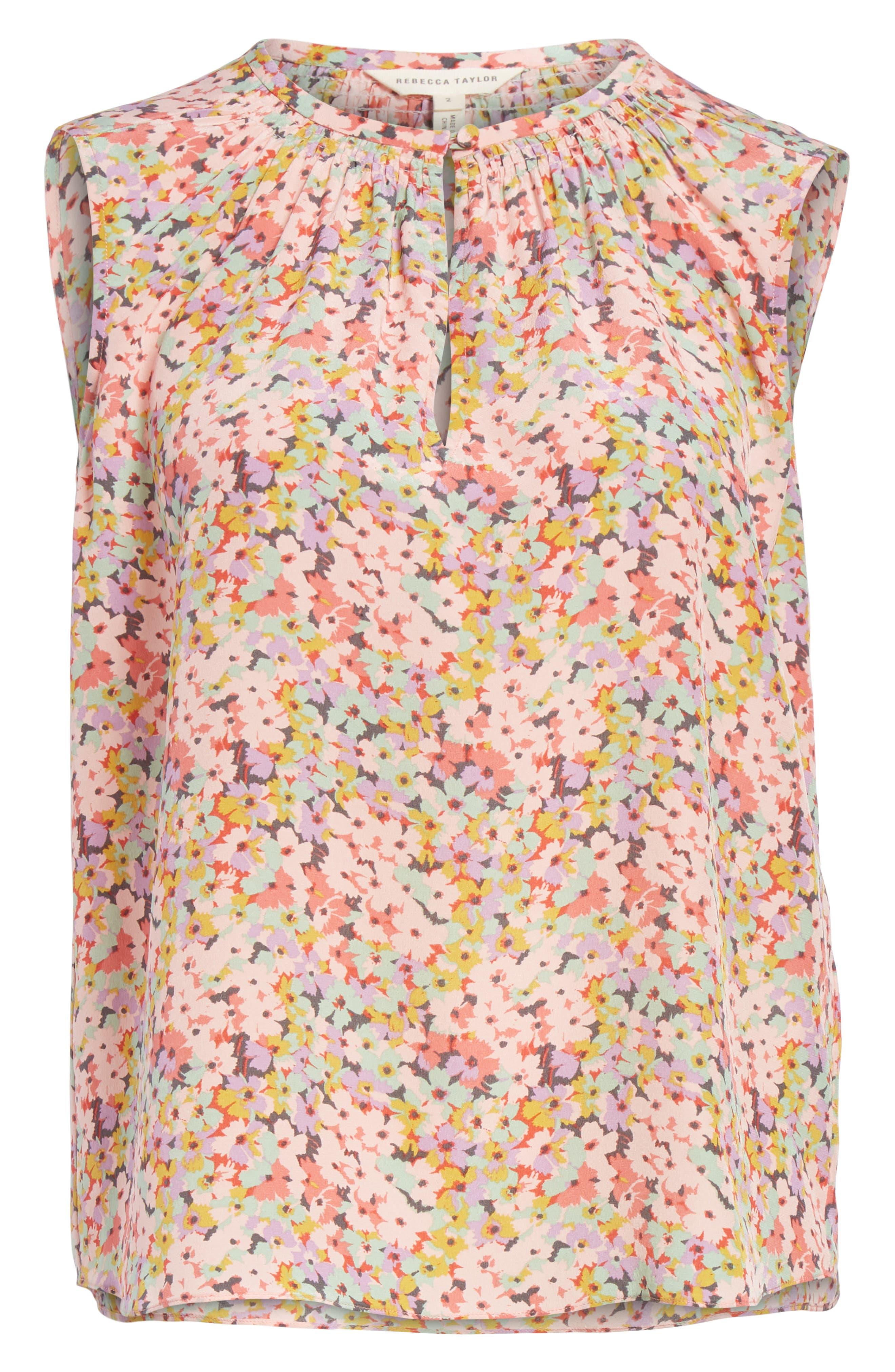 Margo Floral Sleeveless Silk Top,                             Alternate thumbnail 6, color,                             686