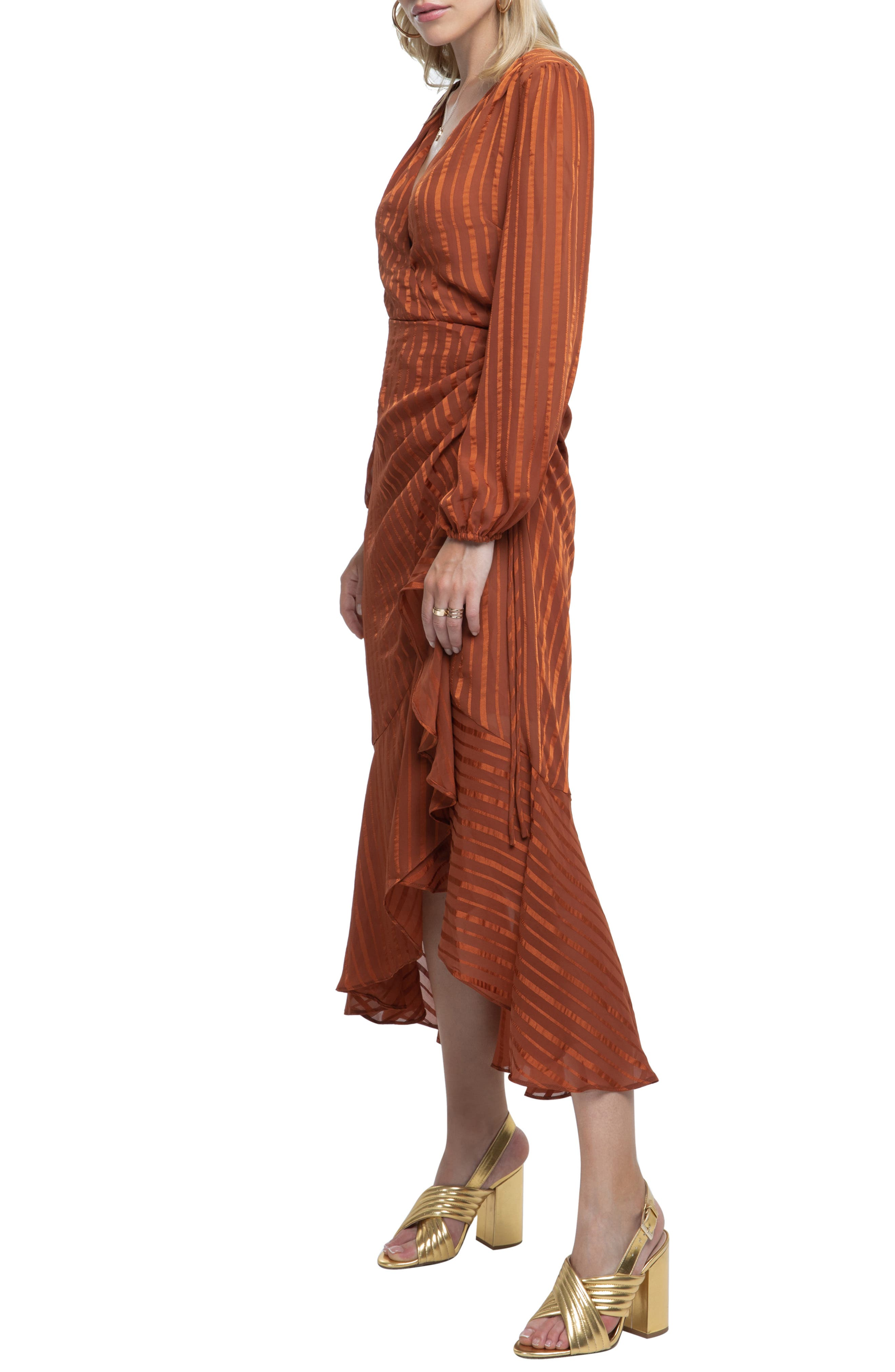 Side Cinched Ruffle Hem Dress,                             Alternate thumbnail 3, color,                             RUST