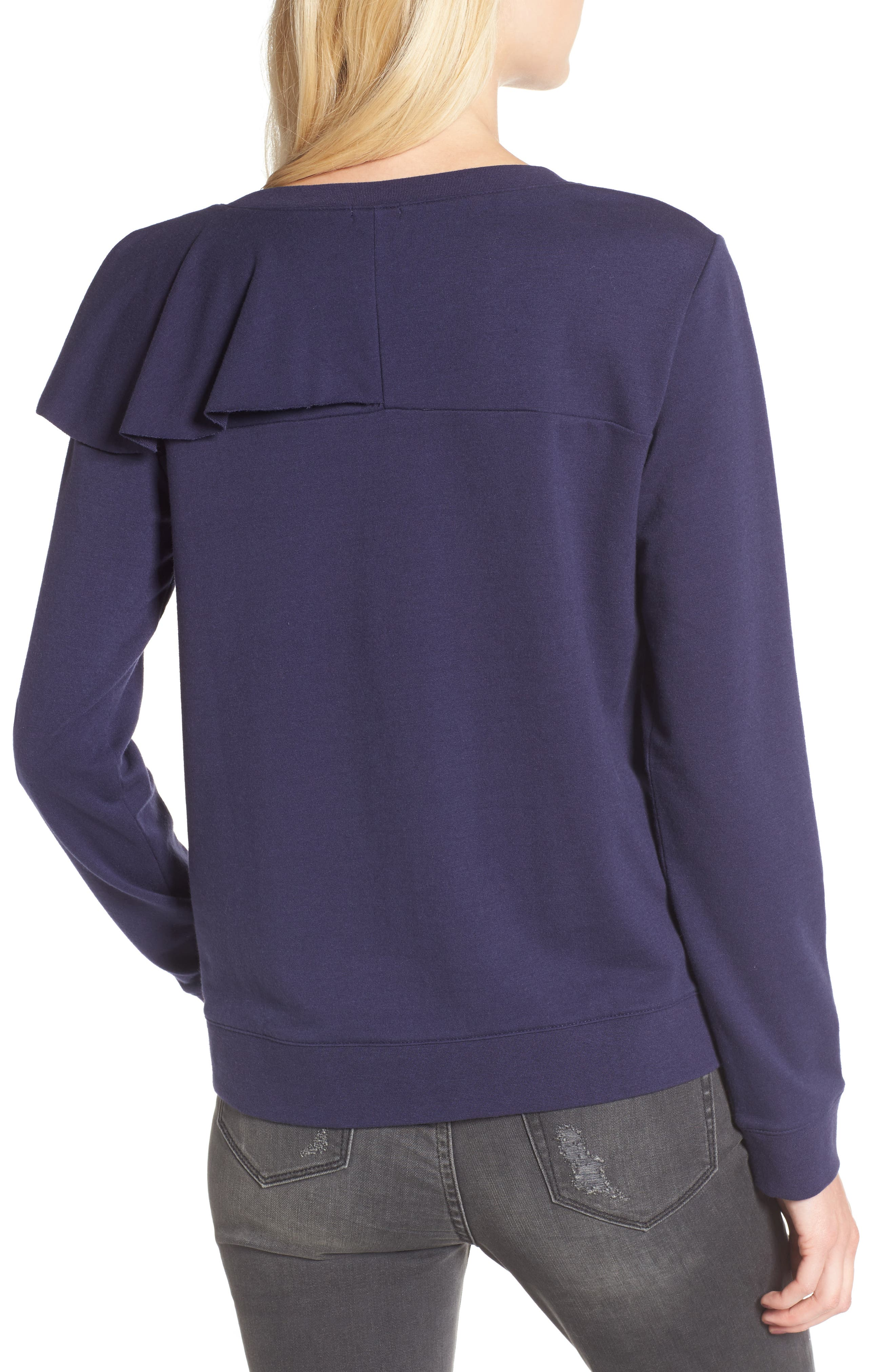Asymmetrical Ruffle Sweatshirt,                             Alternate thumbnail 2, color,                             400