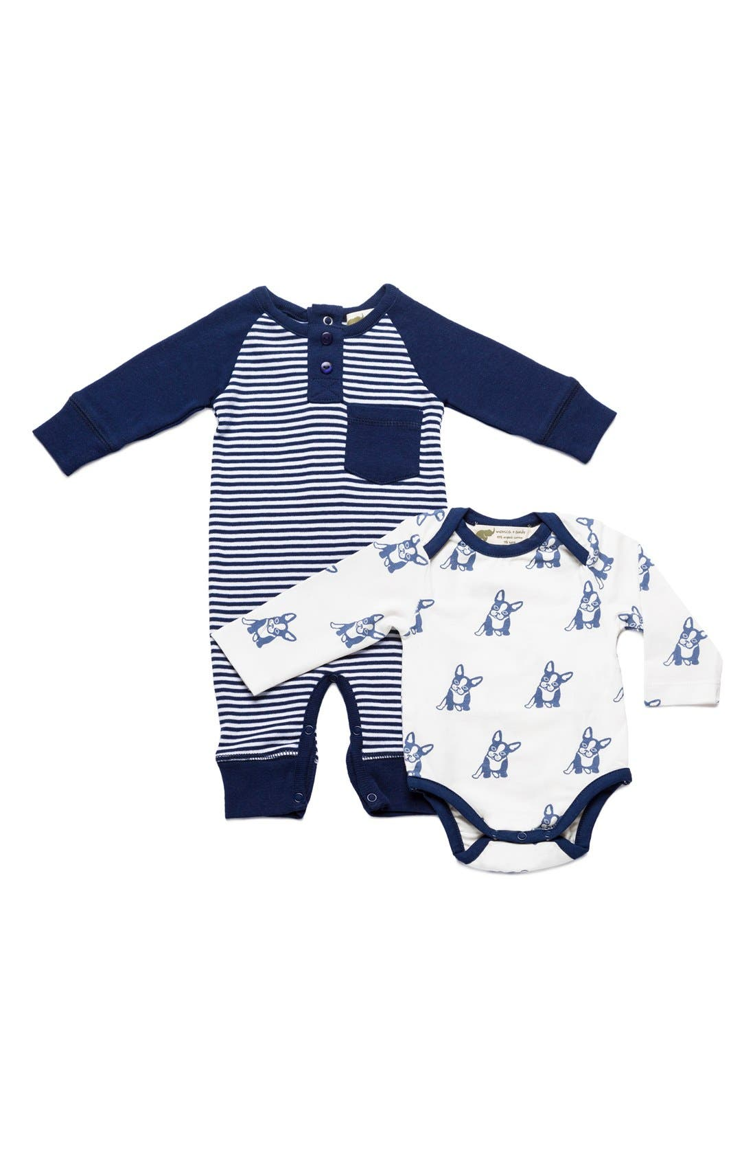 Jack & Jill Top Dog Bodysuit & Dylan Romper Set, Main, color, 400