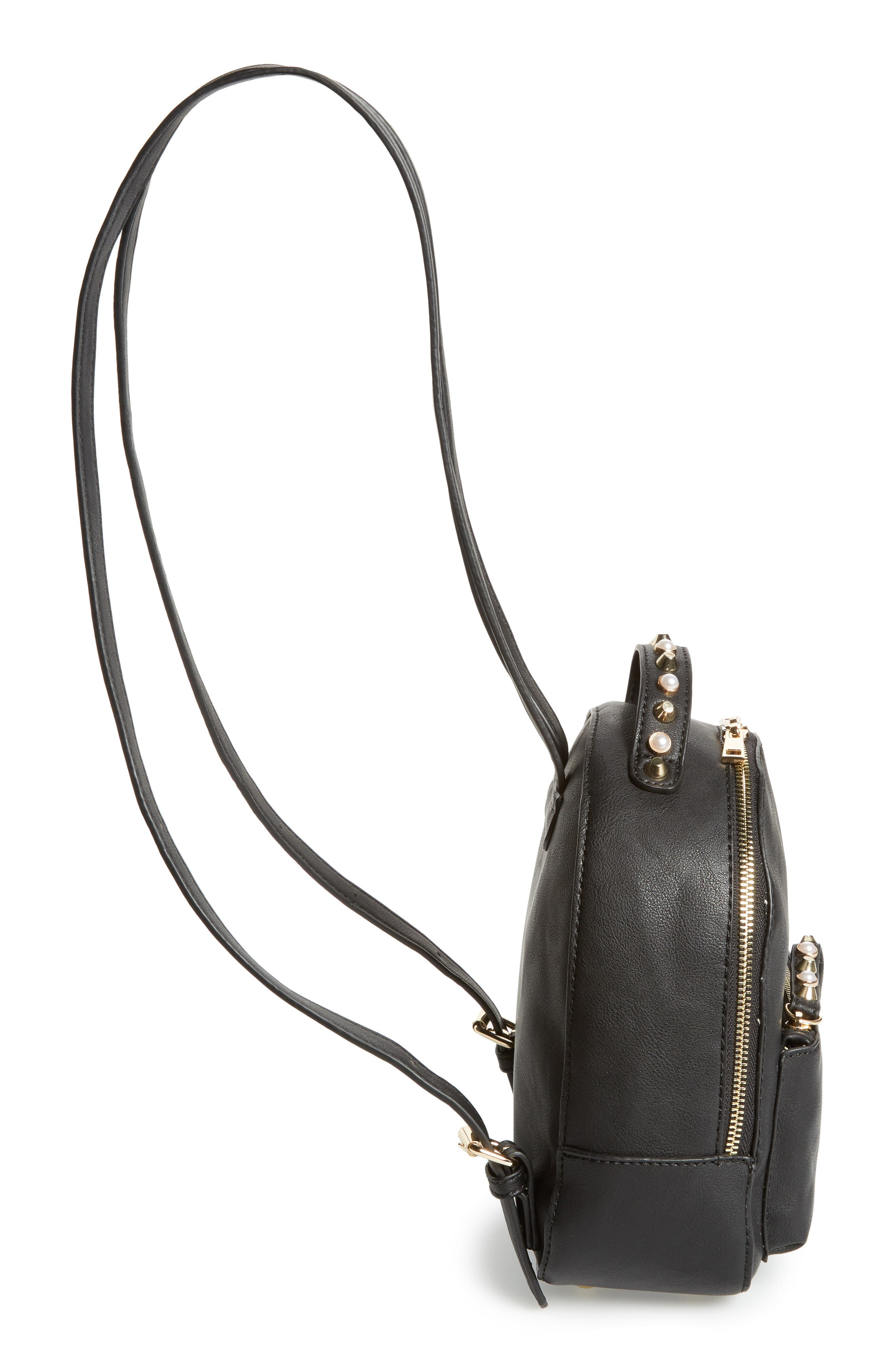 Embellished Faux Leather Backpack,                             Alternate thumbnail 5, color,                             001