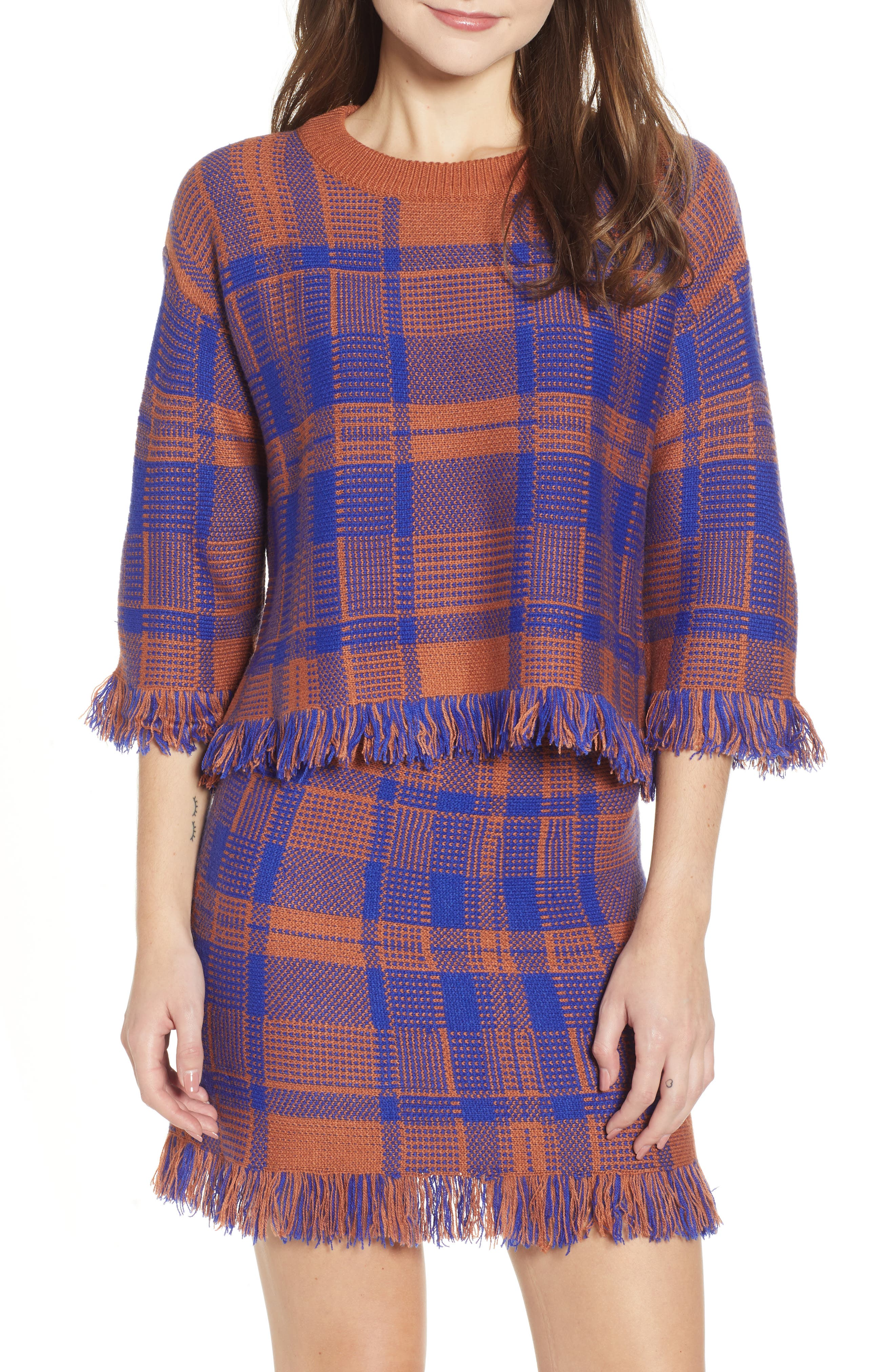 Plaid Fringe Hem Sweater,                             Main thumbnail 1, color,                             BROWN