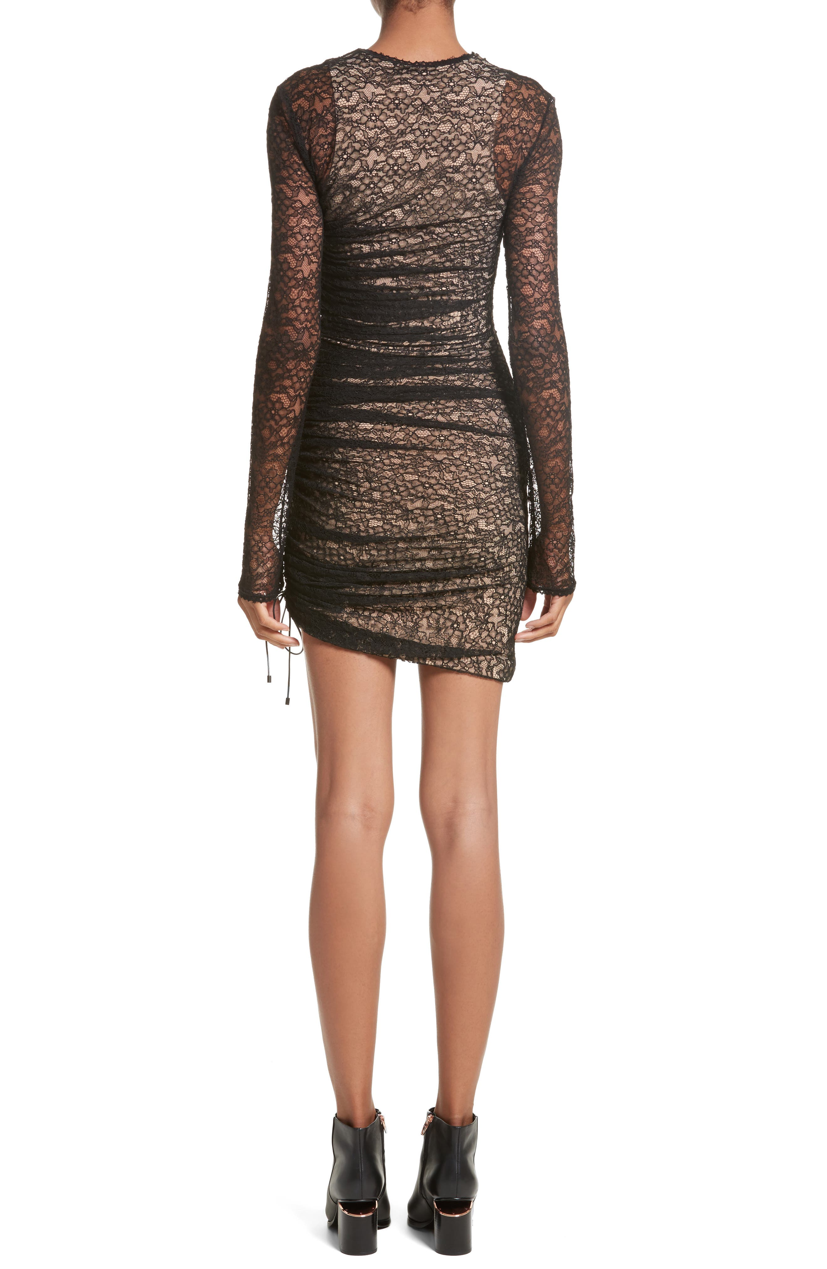 Ruched Lace Dress,                             Alternate thumbnail 2, color,                             001