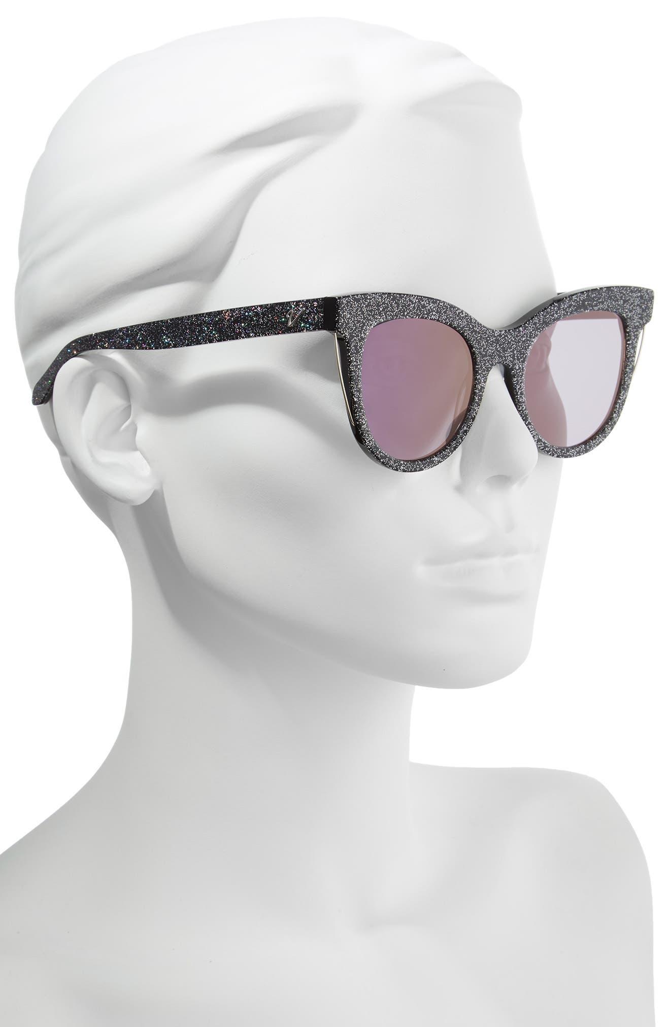 Sloane 52mm Cat Eye Sunglasses,                             Alternate thumbnail 2, color,                             MULTI GLITTER/ PURPLE FLASH