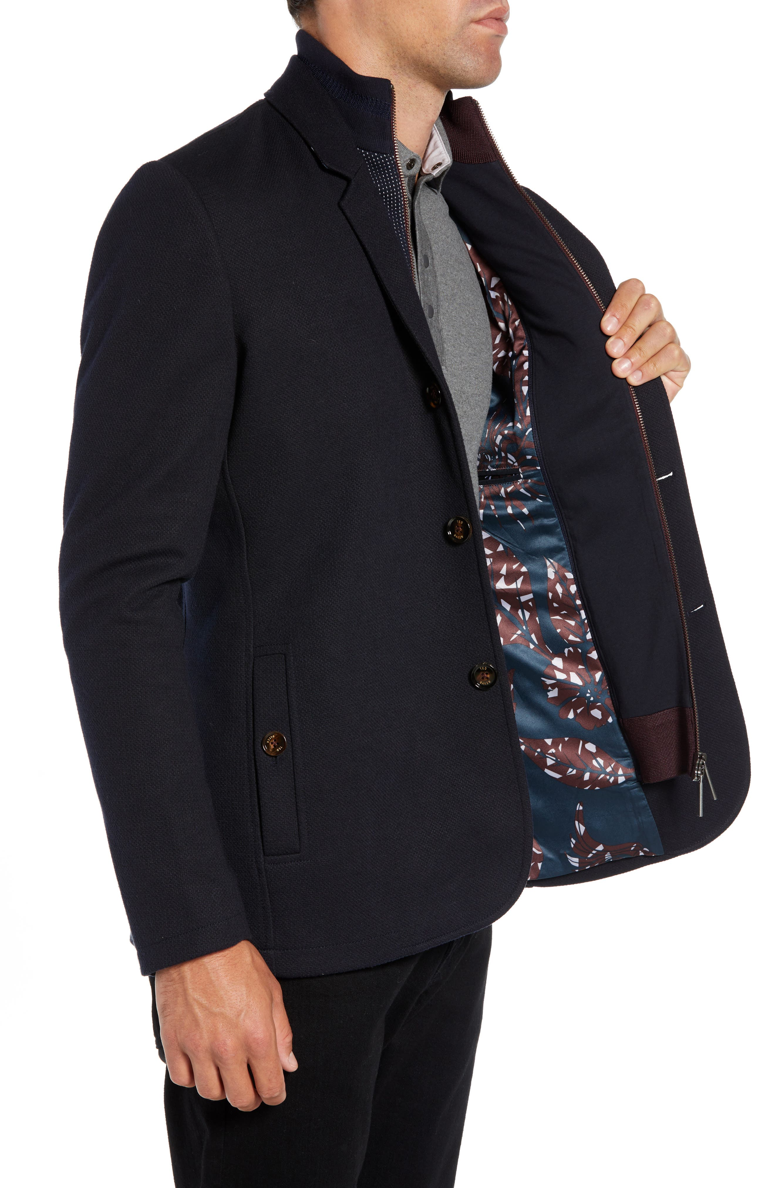 Almond Slim Fit Jersey Blazer,                             Alternate thumbnail 3, color,                             NAVY