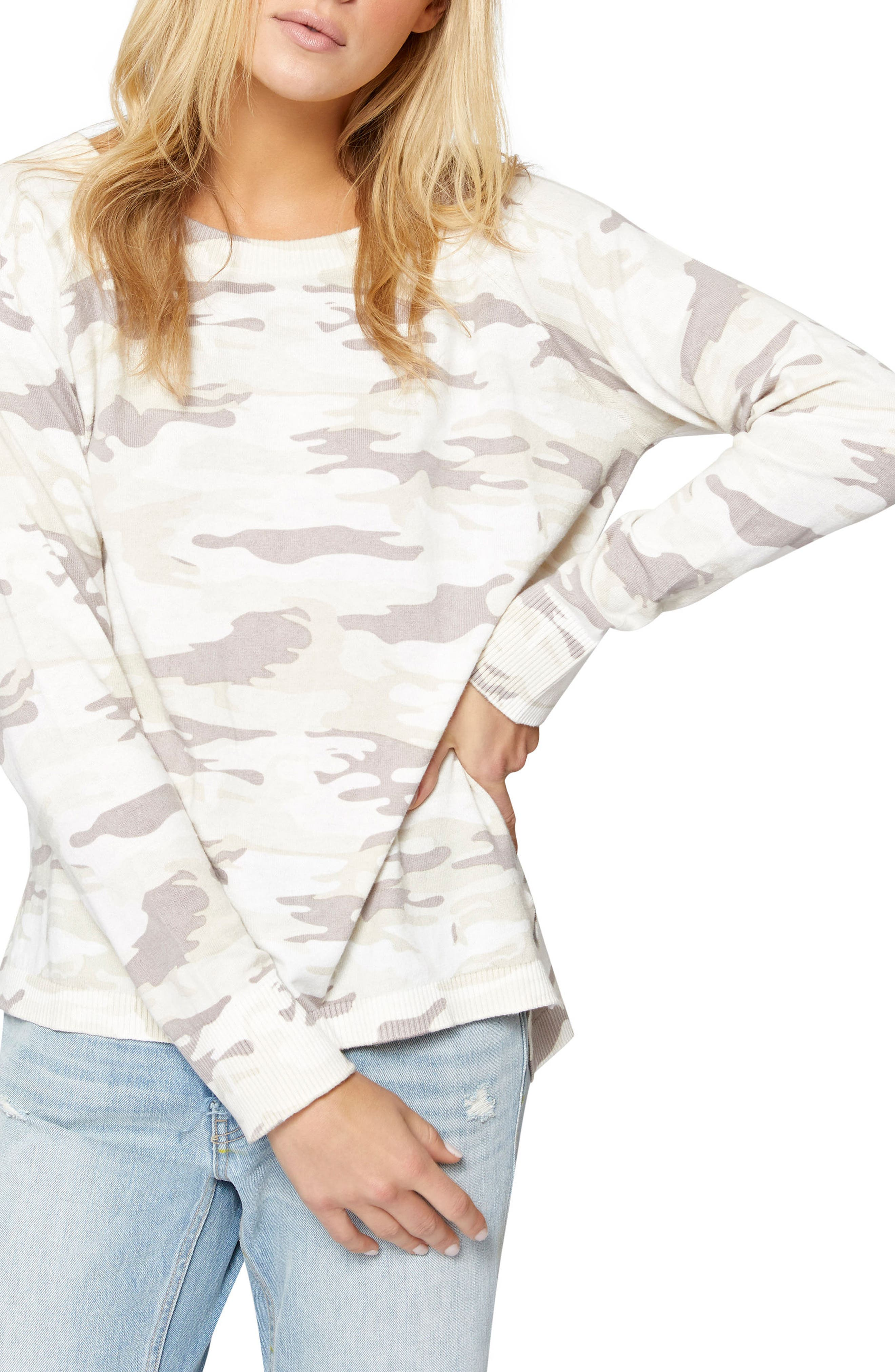 Trixie Lace-Up Camo Sweater,                             Main thumbnail 1, color,                             197