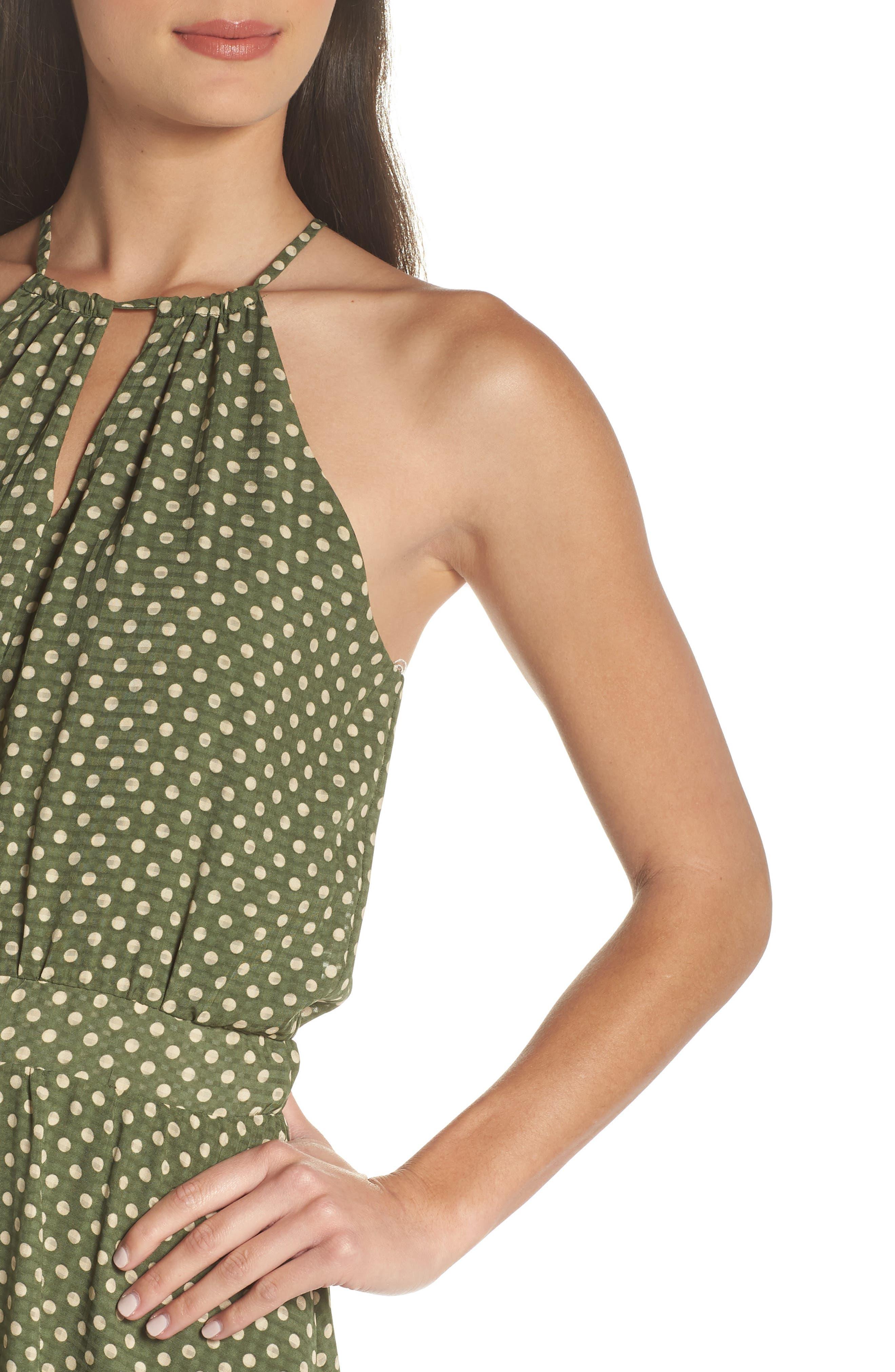 Polka Dot Halter Dress,                             Alternate thumbnail 4, color,                             350