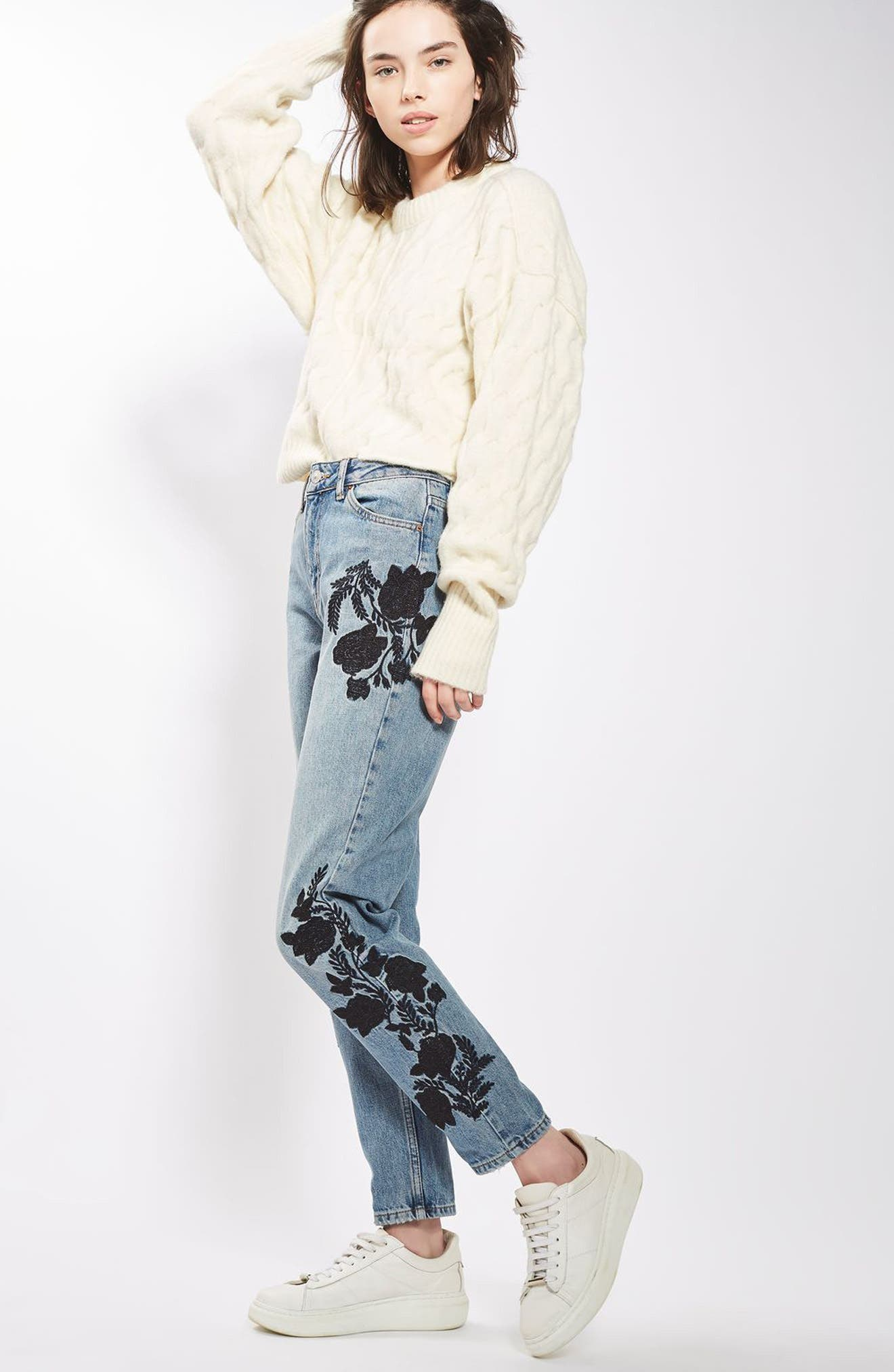 Embroidered Mom Jeans,                             Alternate thumbnail 4, color,                             420