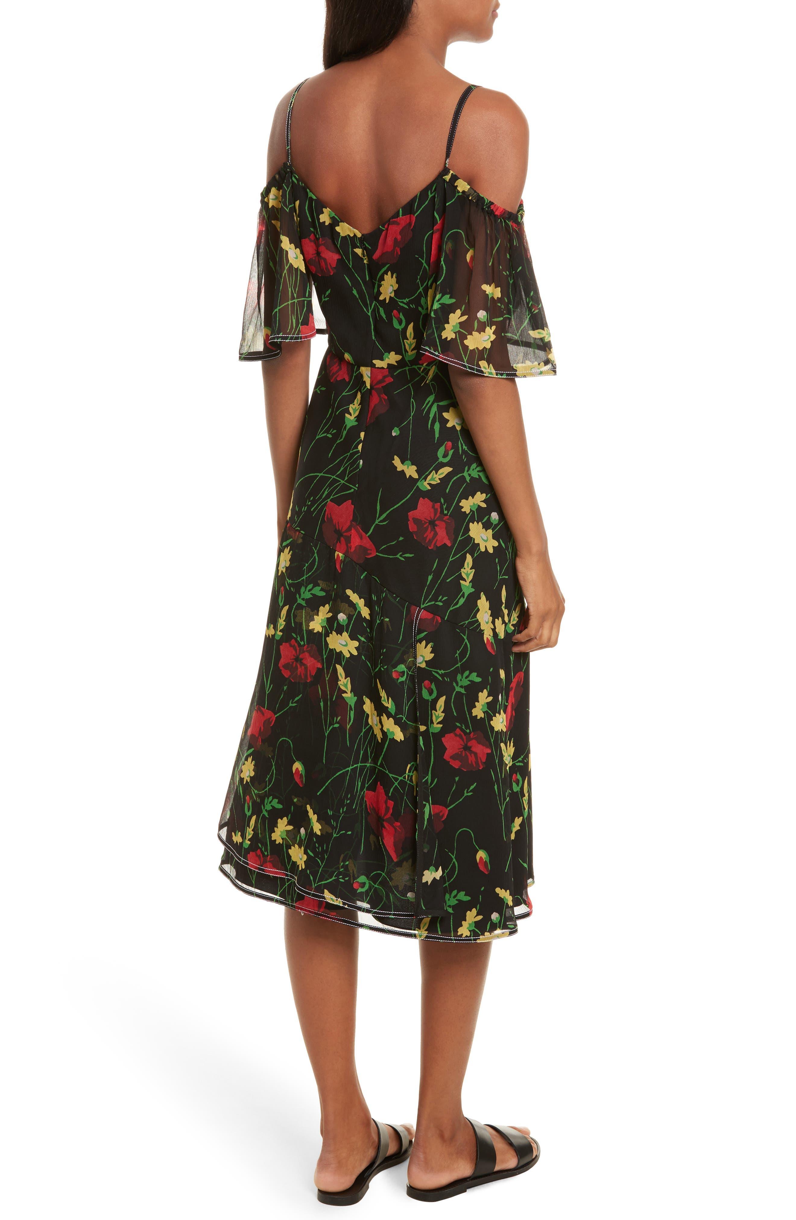 Print Chiffon Off the Shoulder Dress,                             Alternate thumbnail 2, color,                             001