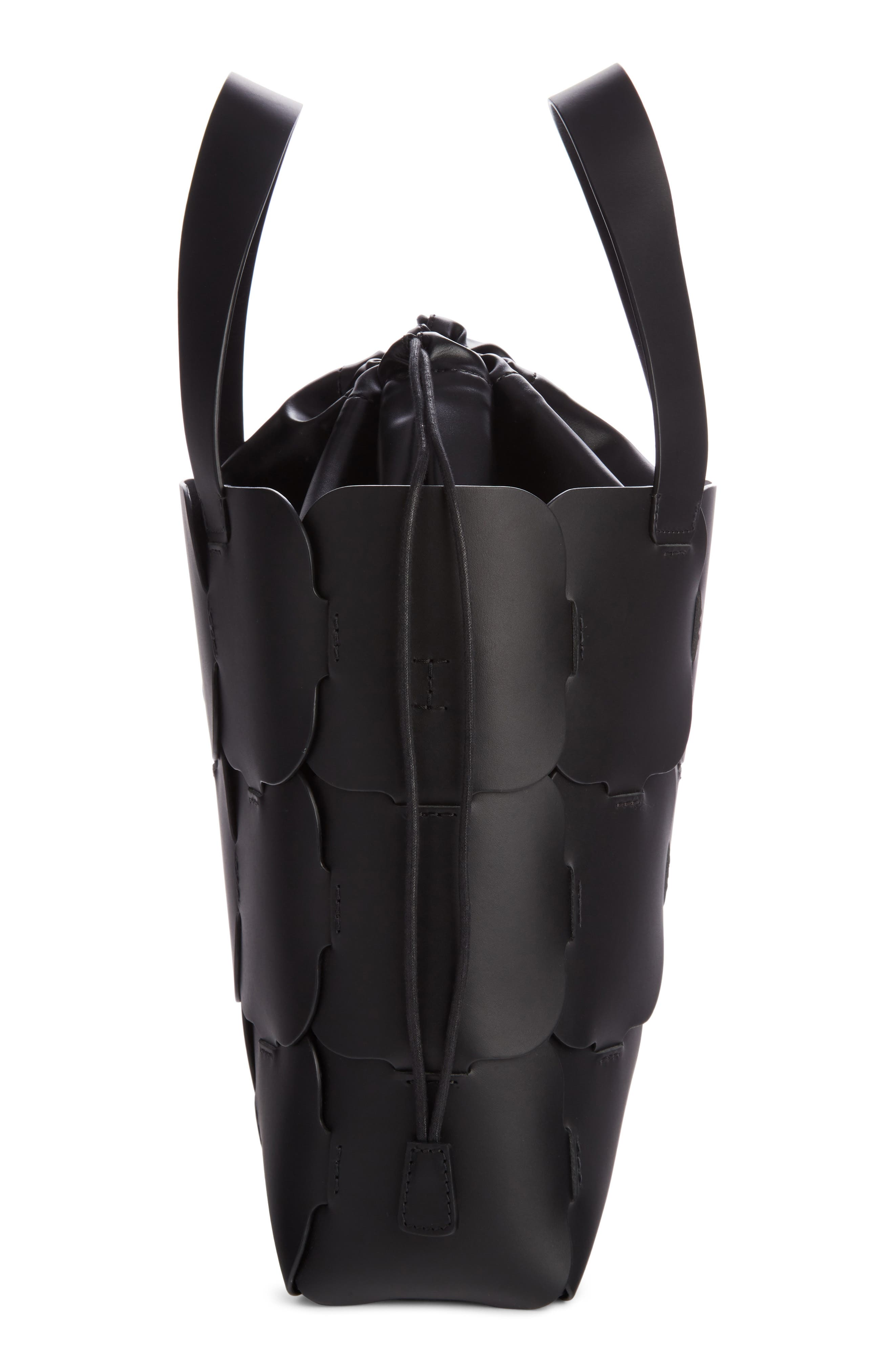 Medium Element Cabas Leather Bucket Bag,                             Alternate thumbnail 3, color,                             BLACK