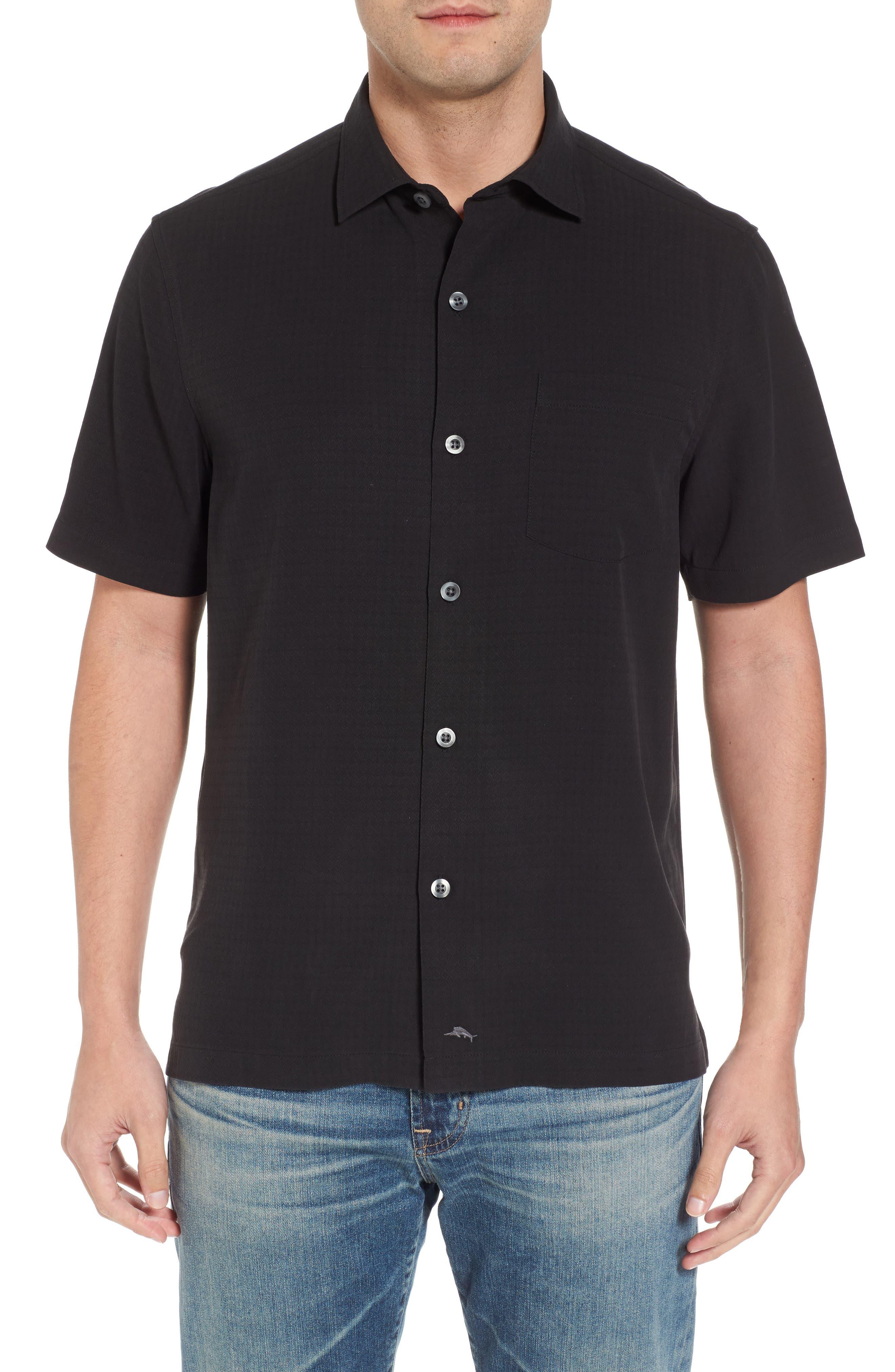 Oasis Jacquard Silk Sport Shirt,                         Main,                         color, 001