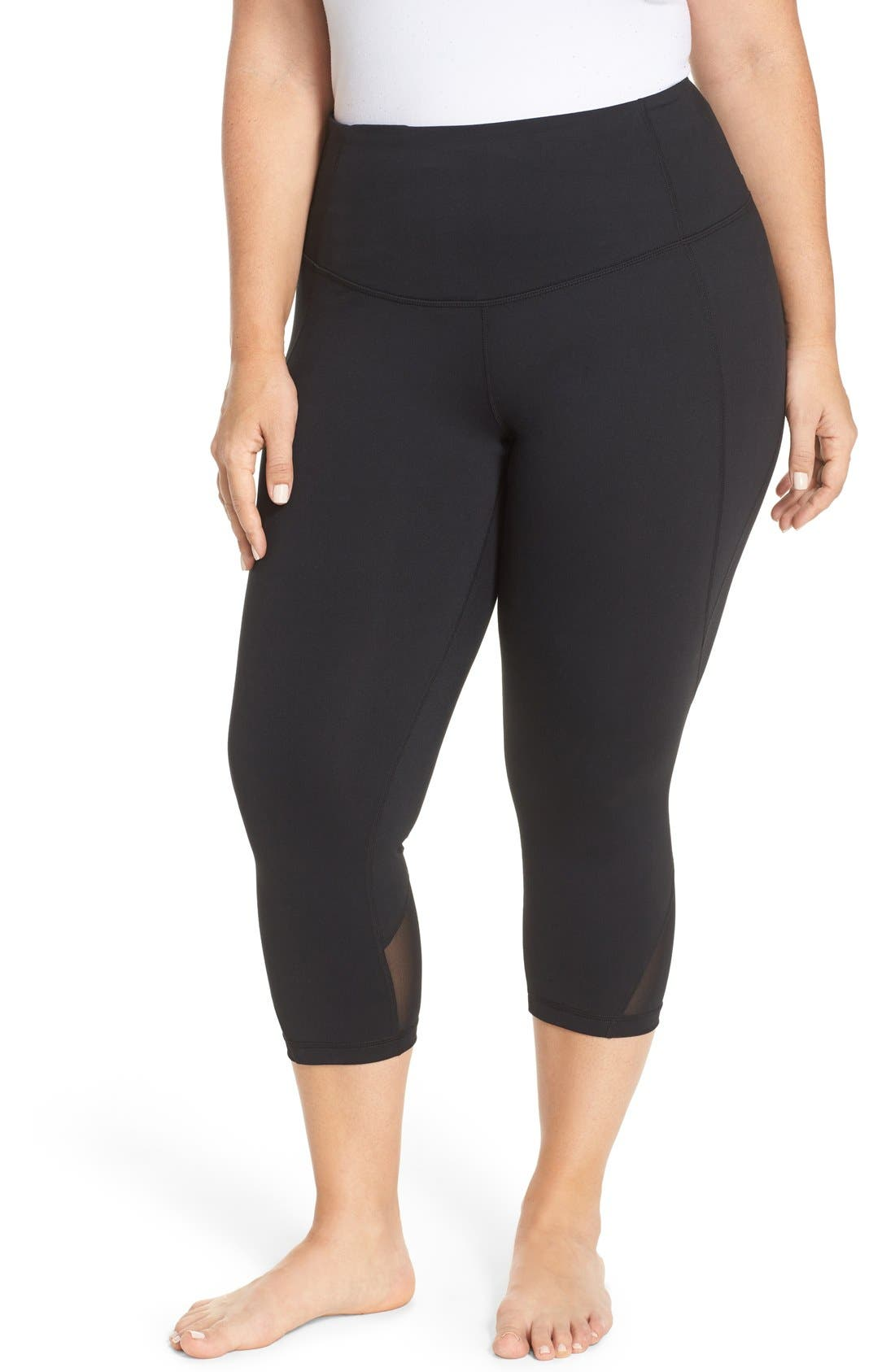 Hatha High Waist Crop Leggings,                             Alternate thumbnail 6, color,                             001