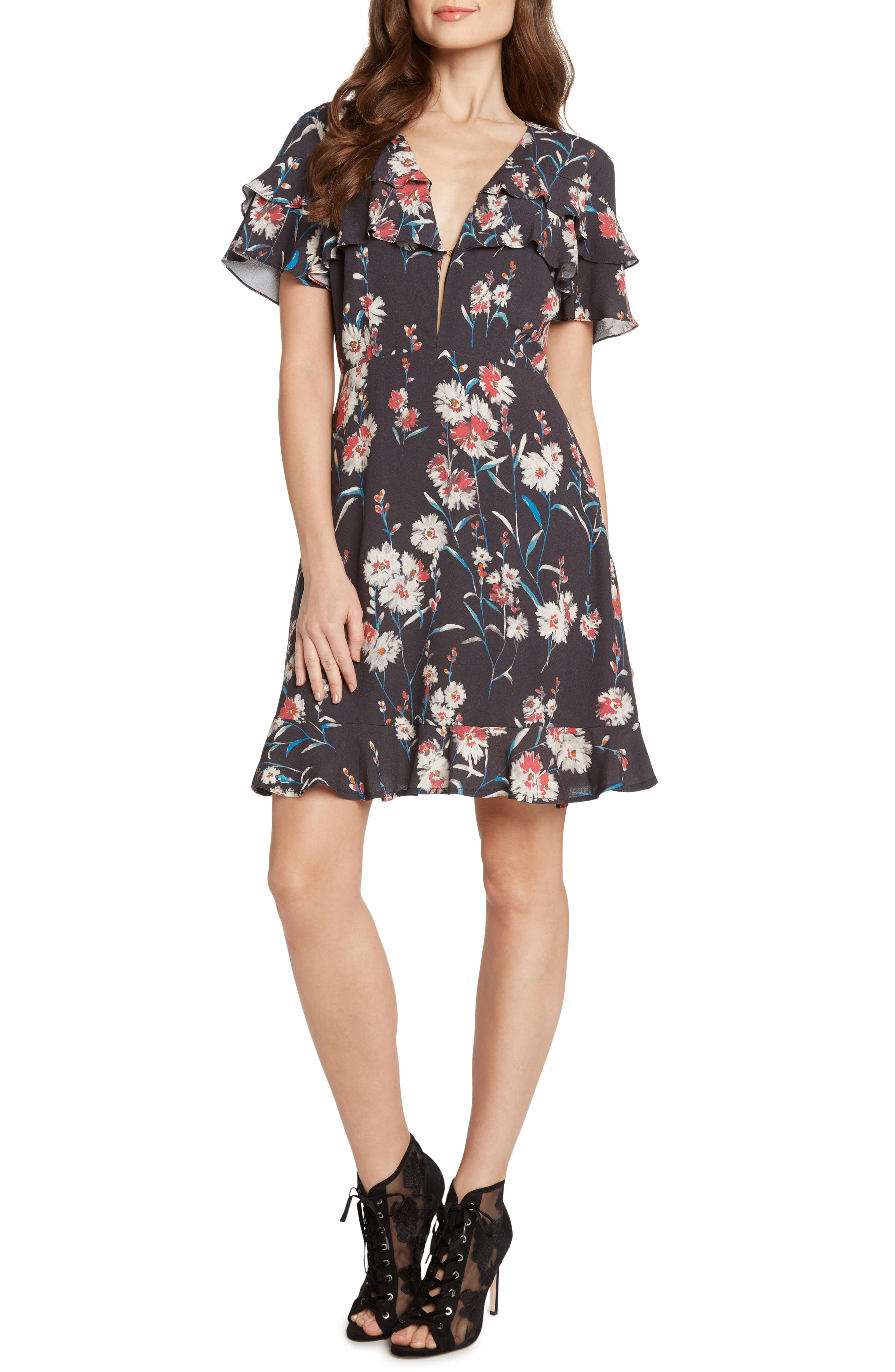 Floral Ruffle Ruffle Minidress,                         Main,                         color, STEEL