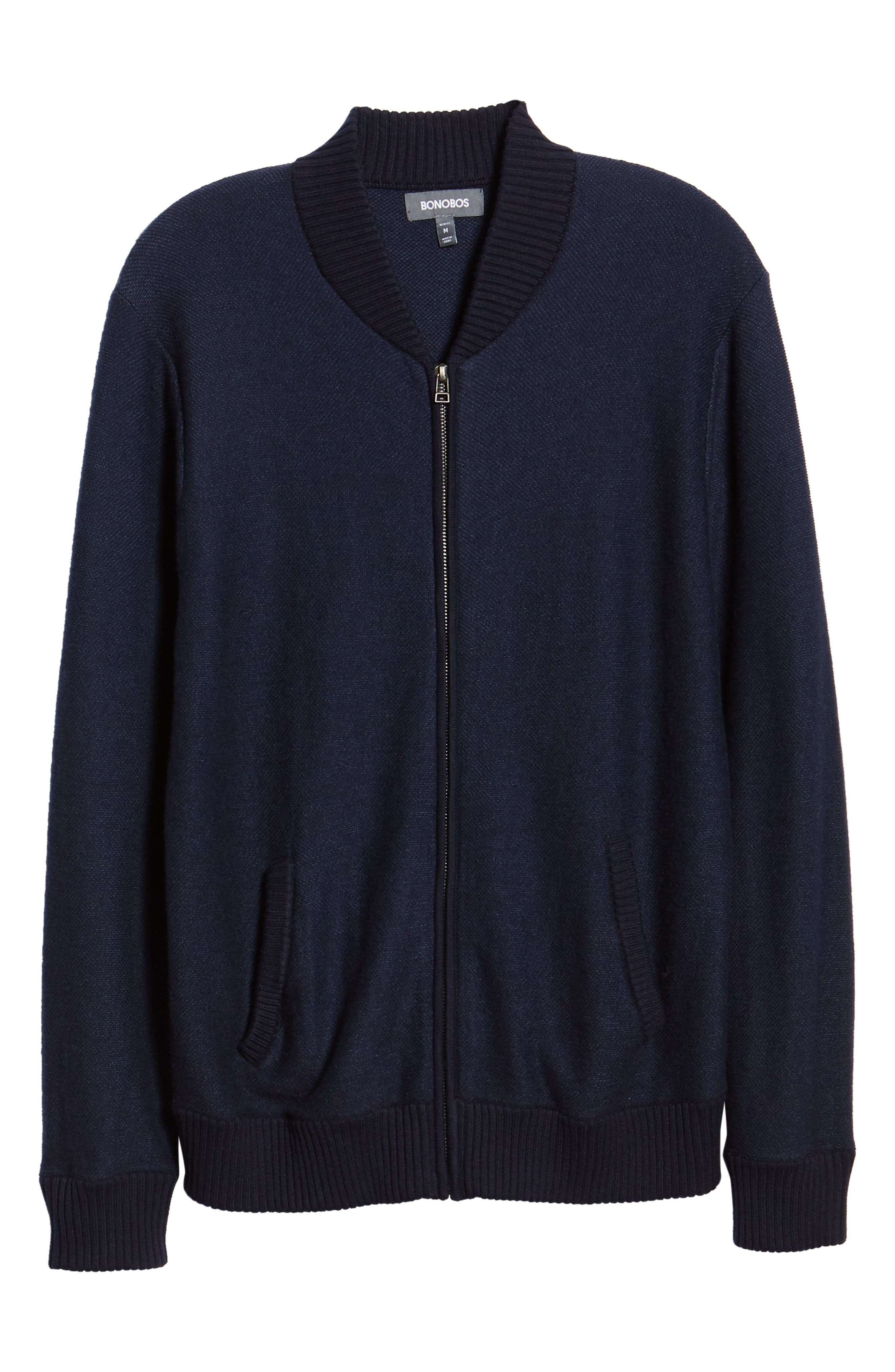 Cotton & Cashmere Bomber Sweater,                             Alternate thumbnail 6, color,                             MIDNIGHT BLUE