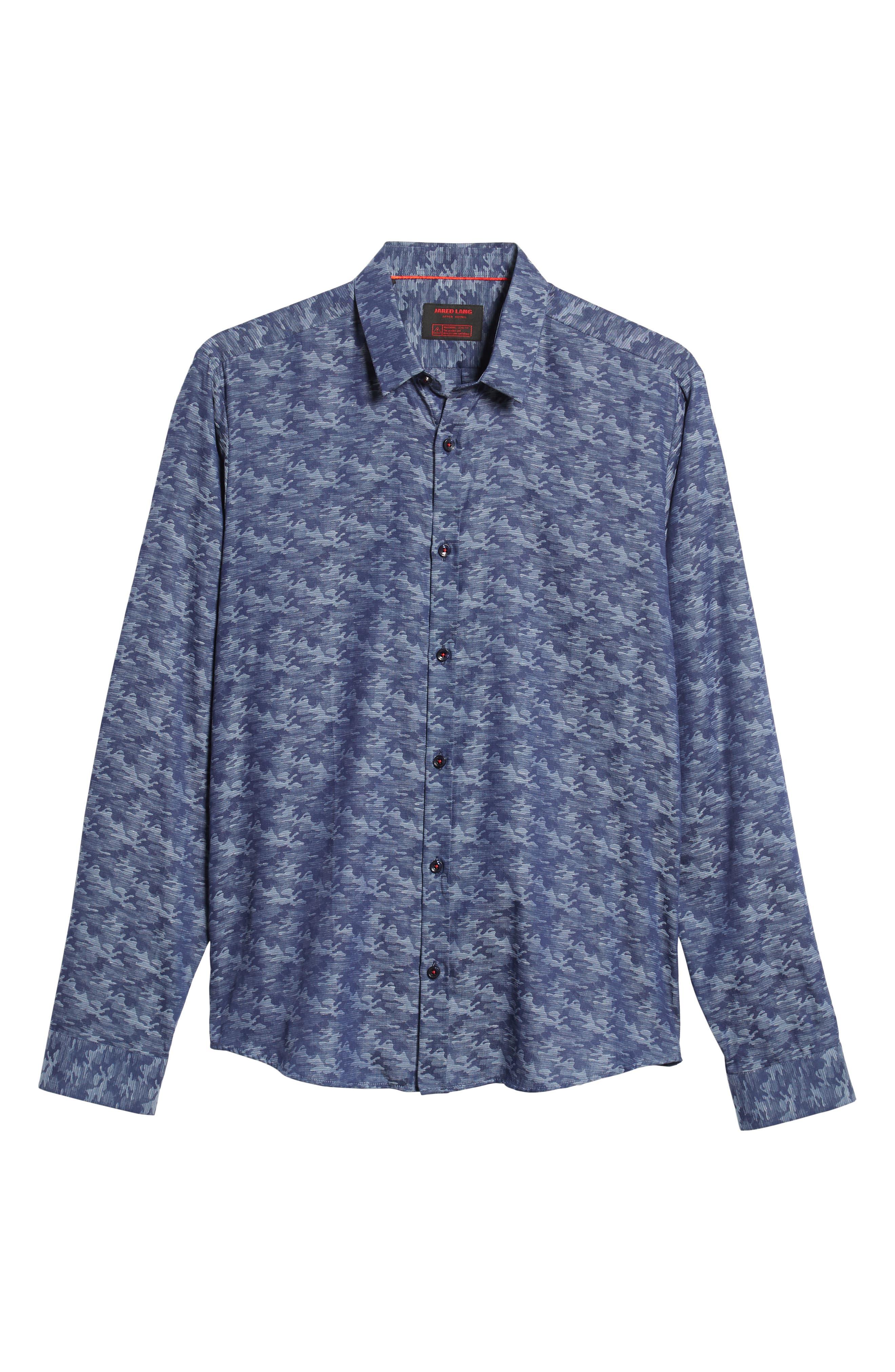 Trim Fit Sport Shirt,                             Alternate thumbnail 5, color,                             BLUE CAMO