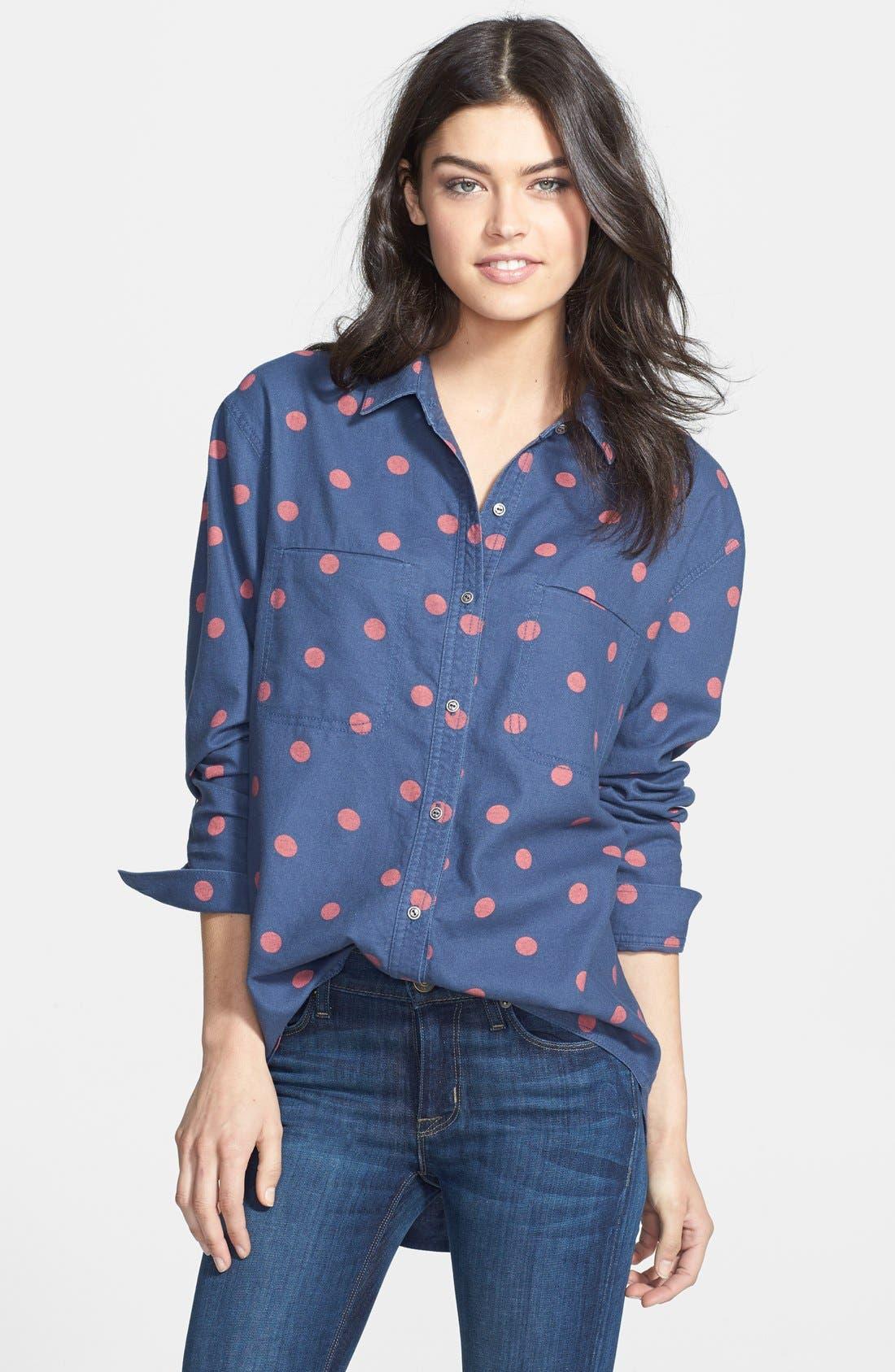 HINGE,                              Dot Print Flannel Shirt,                             Main thumbnail 1, color,                             650