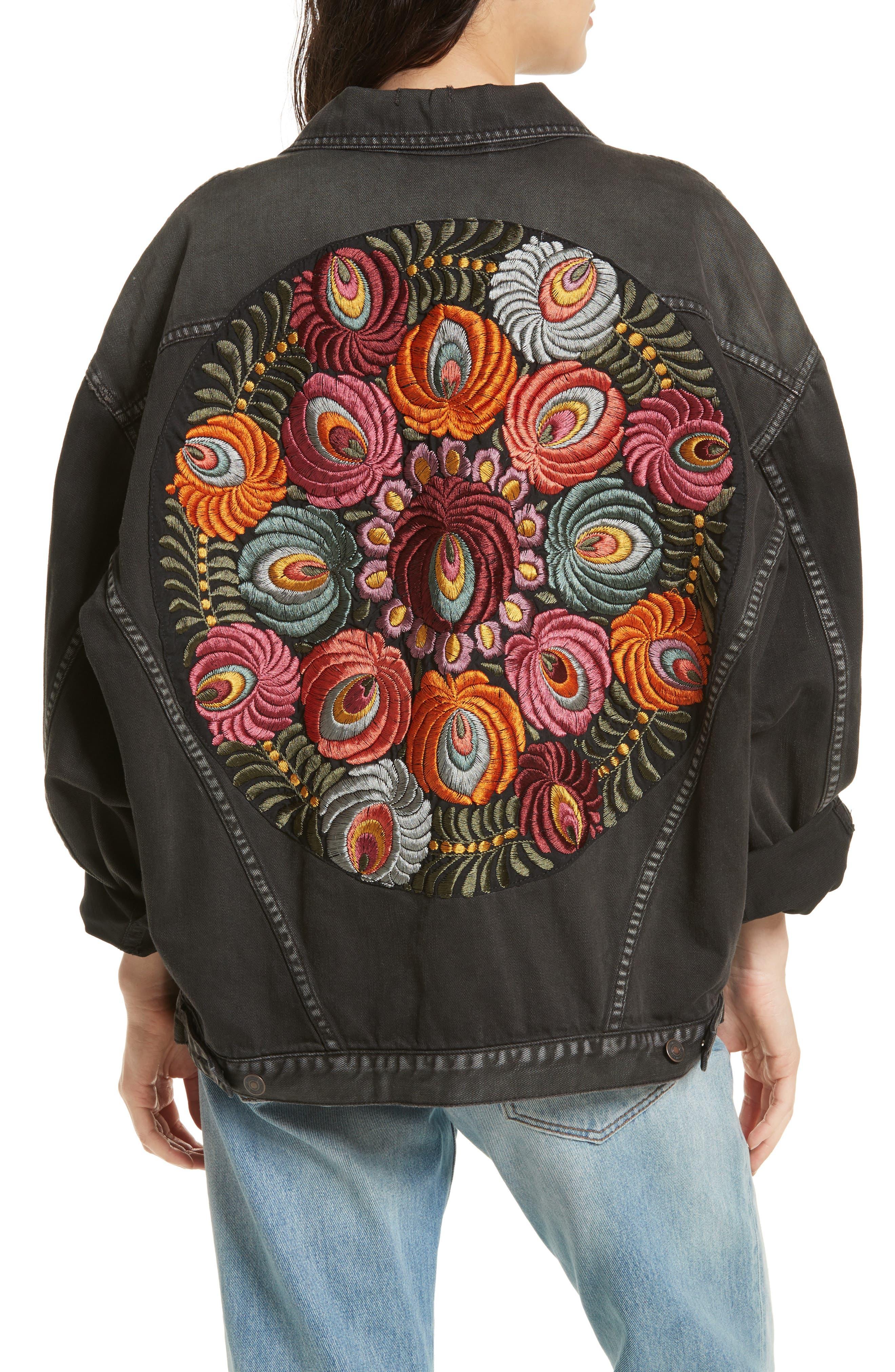 Embroidered Denim Jacket,                             Alternate thumbnail 2, color,                             001