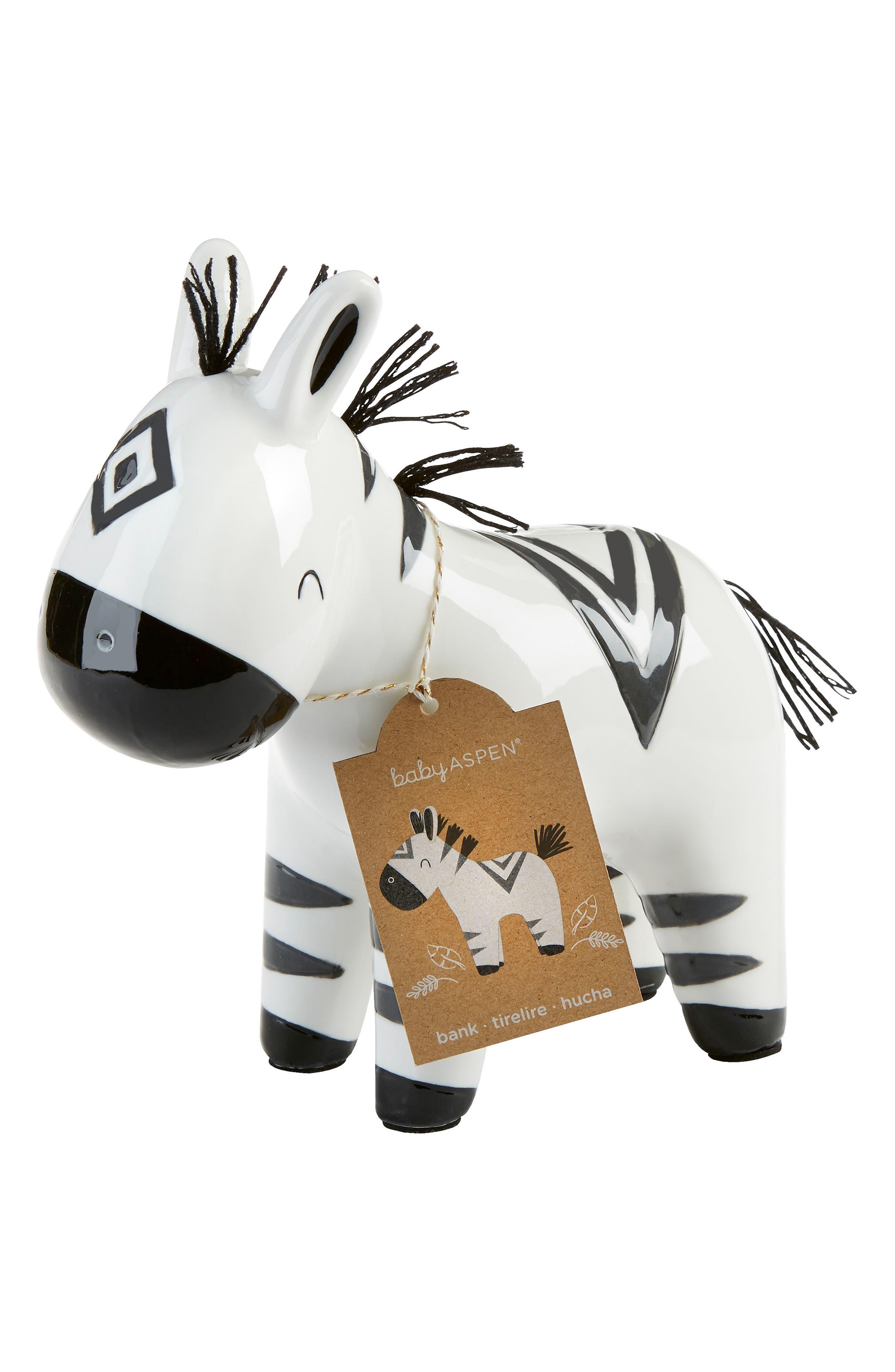 Zebra Ceramic Bank, Main, color, WHITE/ BLACK