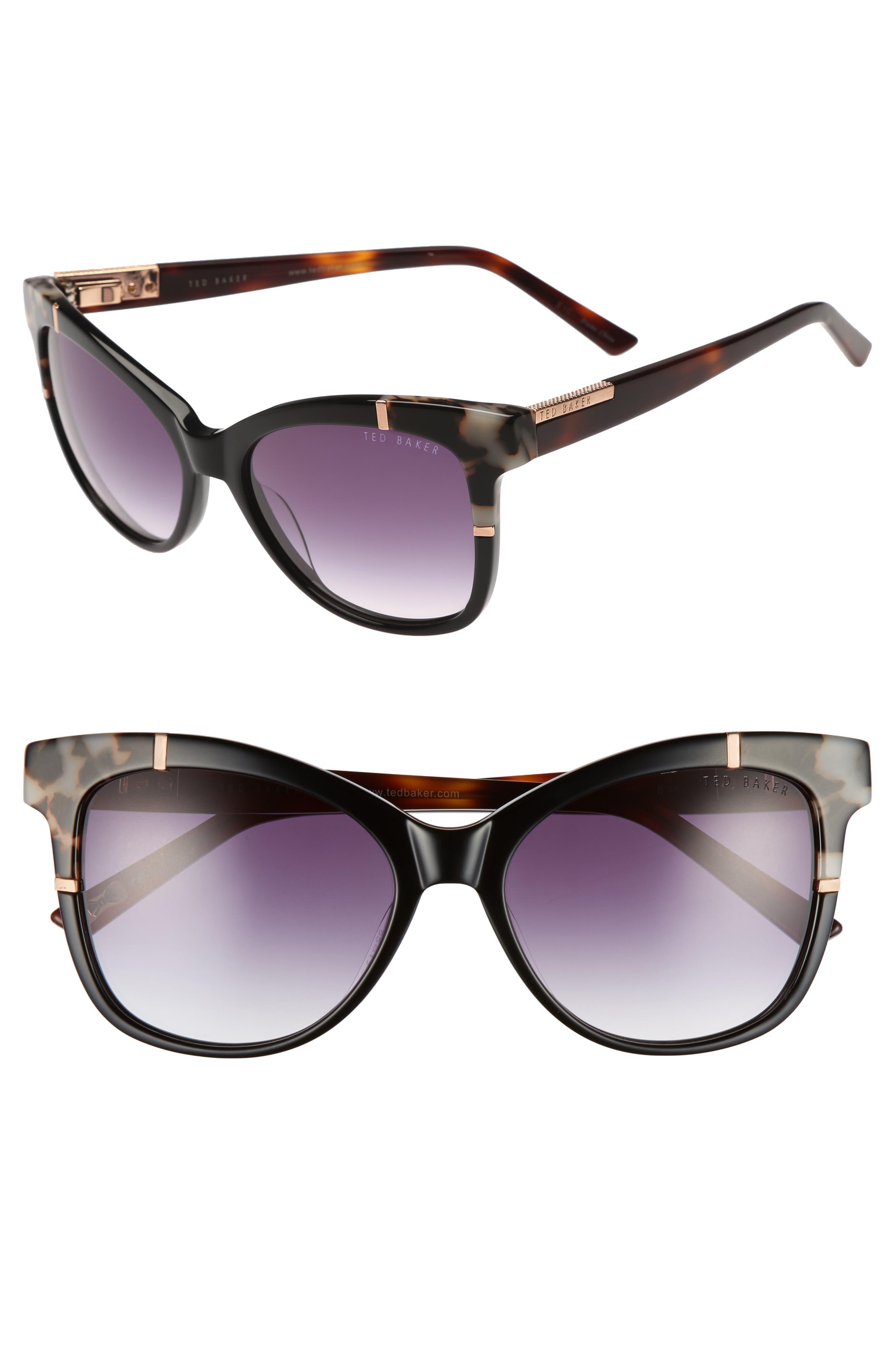 55mm Square Cat Eye Sunglasses,                         Main,                         color, 001